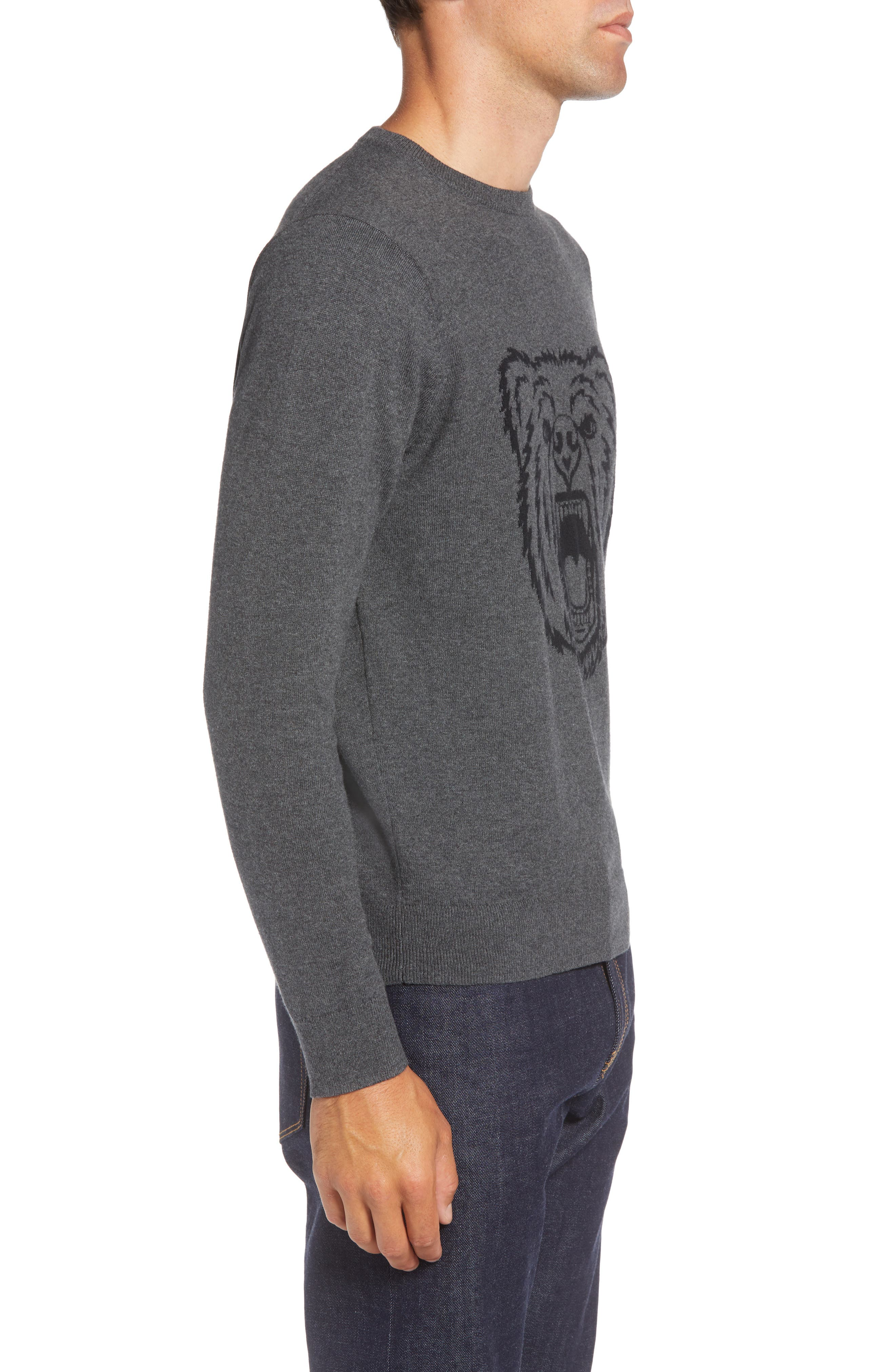 Bear Crewneck Sweater,                             Alternate thumbnail 3, color,                             GREY CASTLEROCK MARL BEAR
