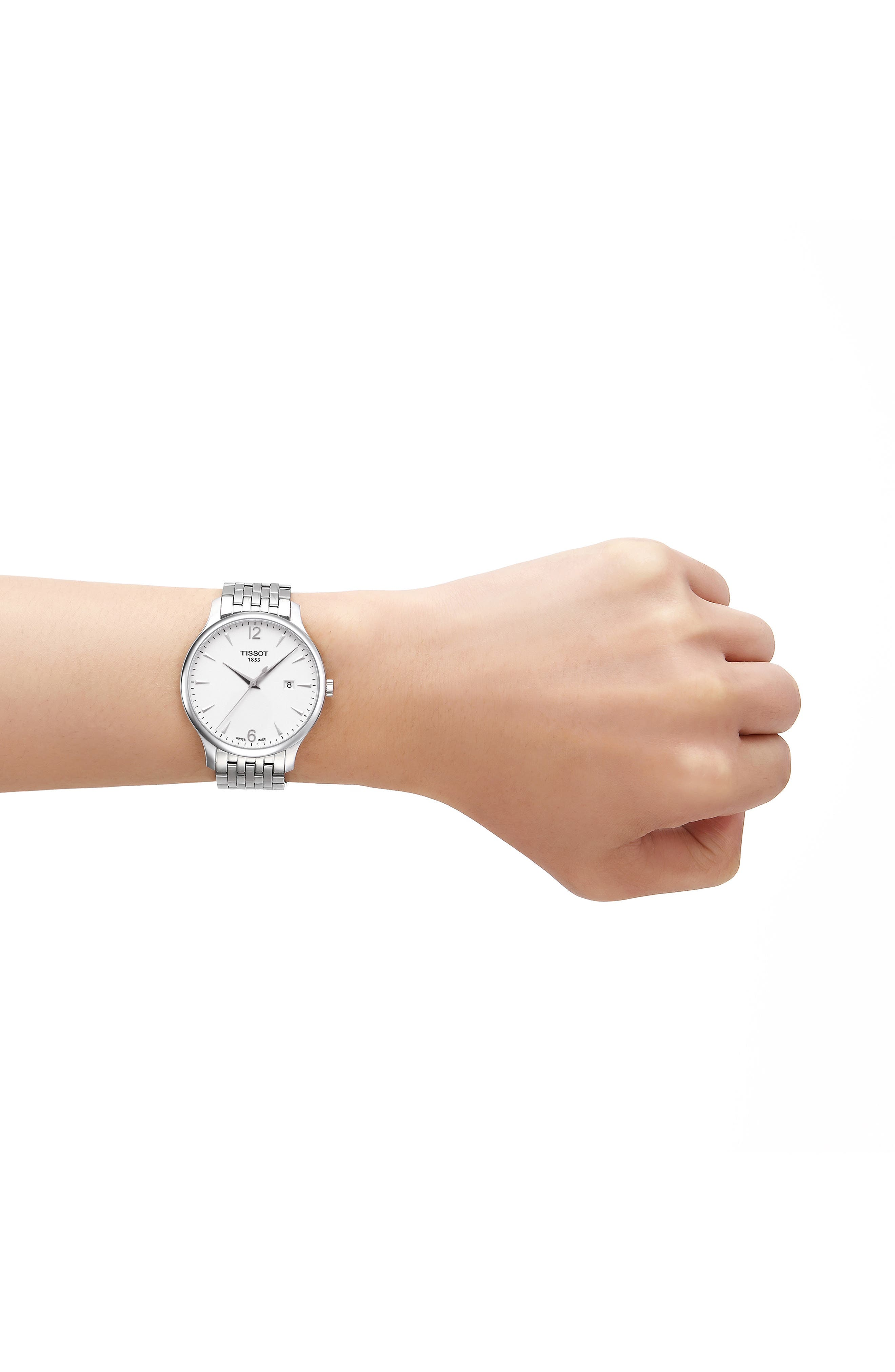 Tradition Bracelet Watch, 42mm,                             Alternate thumbnail 2, color,                             SILVER