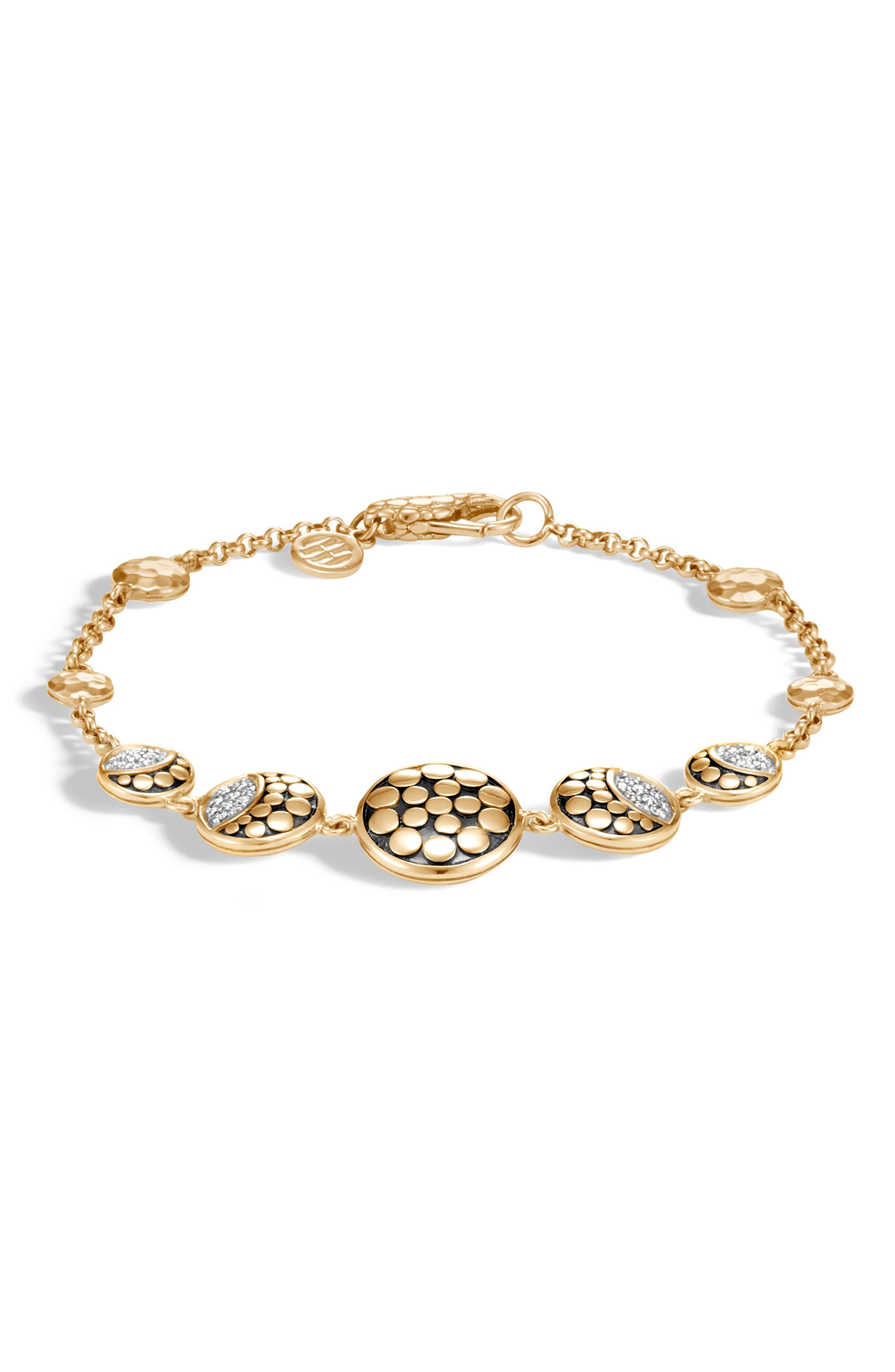 Dot Moon Diamond Pavé Bracelet,                             Main thumbnail 1, color,                             GOLD/ DIAMOND