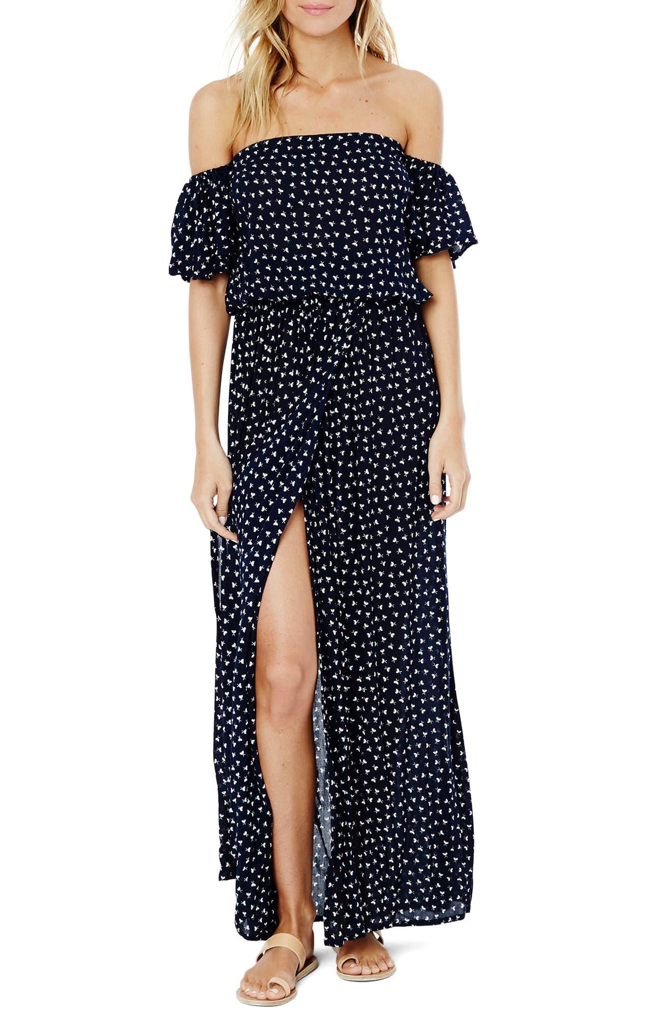 La Digue Off the Shoulder Maxi Dress,                         Main,                         color, 410