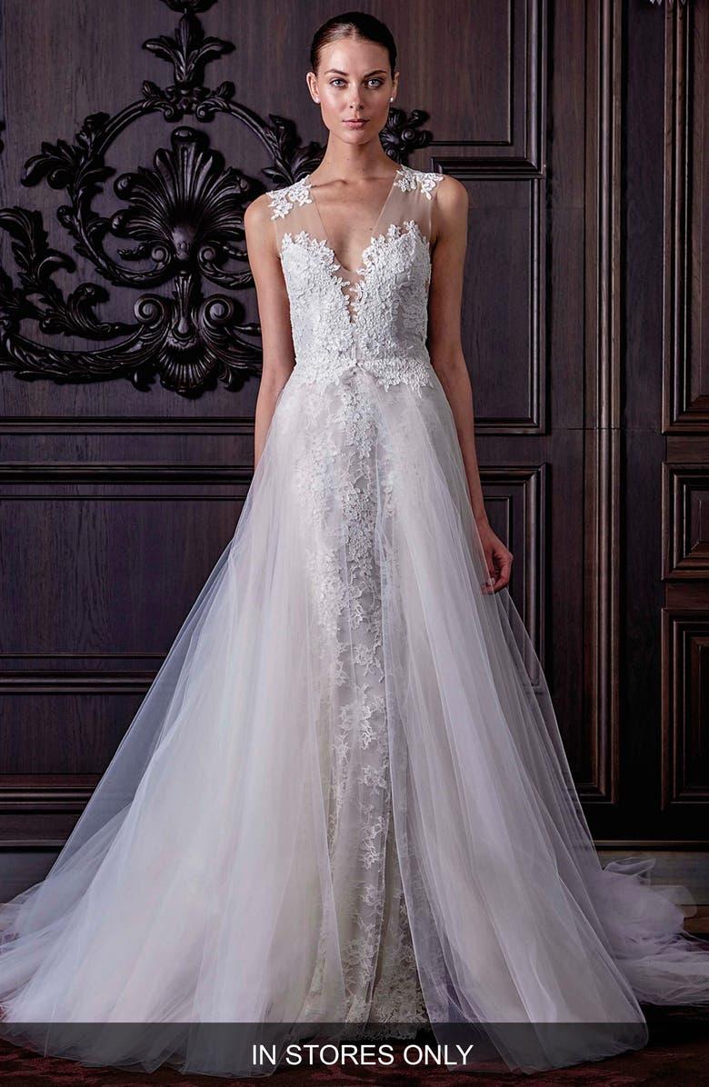 Monique Lhuillier L Amour Chantilly Lace Sheath Dress In Silk White