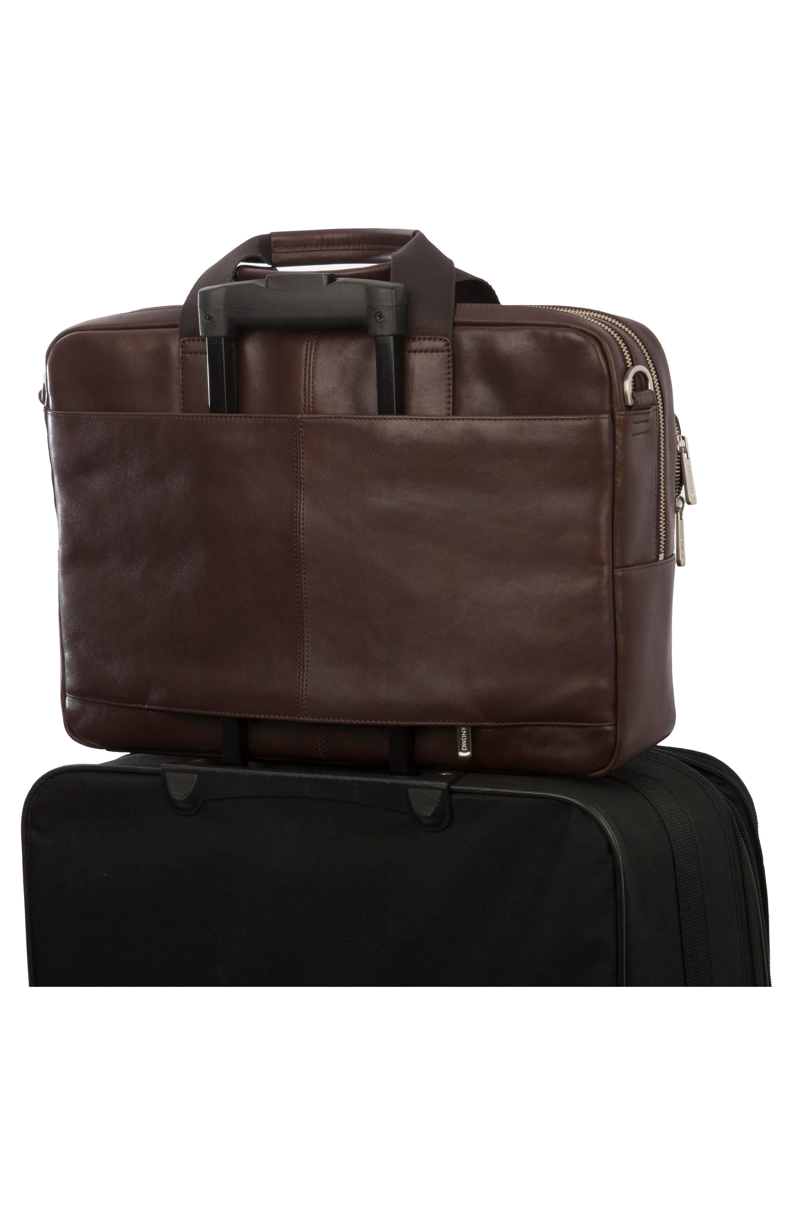 Brompton Amesbury Leather Briefcase,                             Alternate thumbnail 4, color,                             BROWN