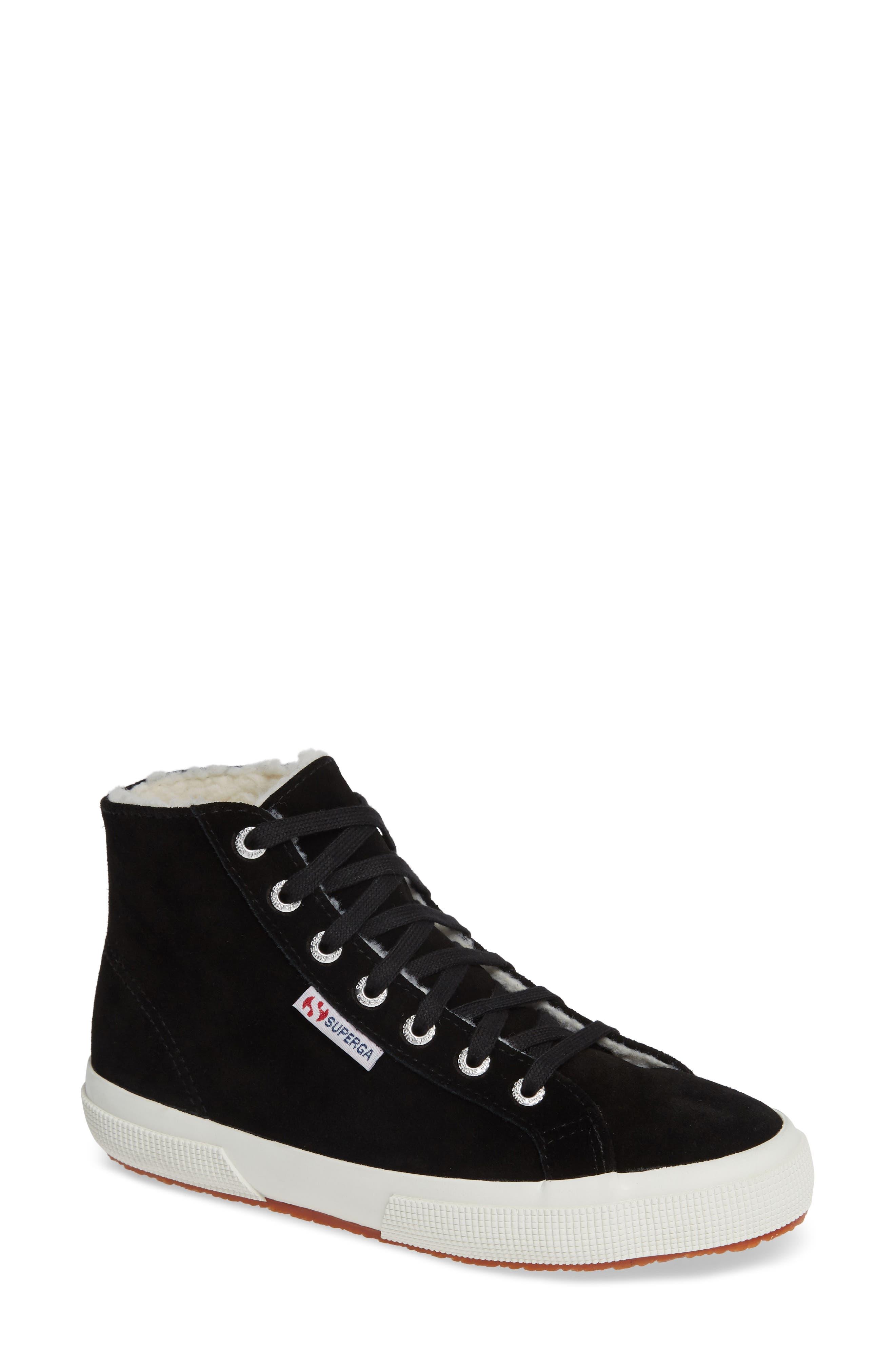 2795 Suefurw High Top Sneaker,                             Main thumbnail 1, color,                             BLACK SUEDE
