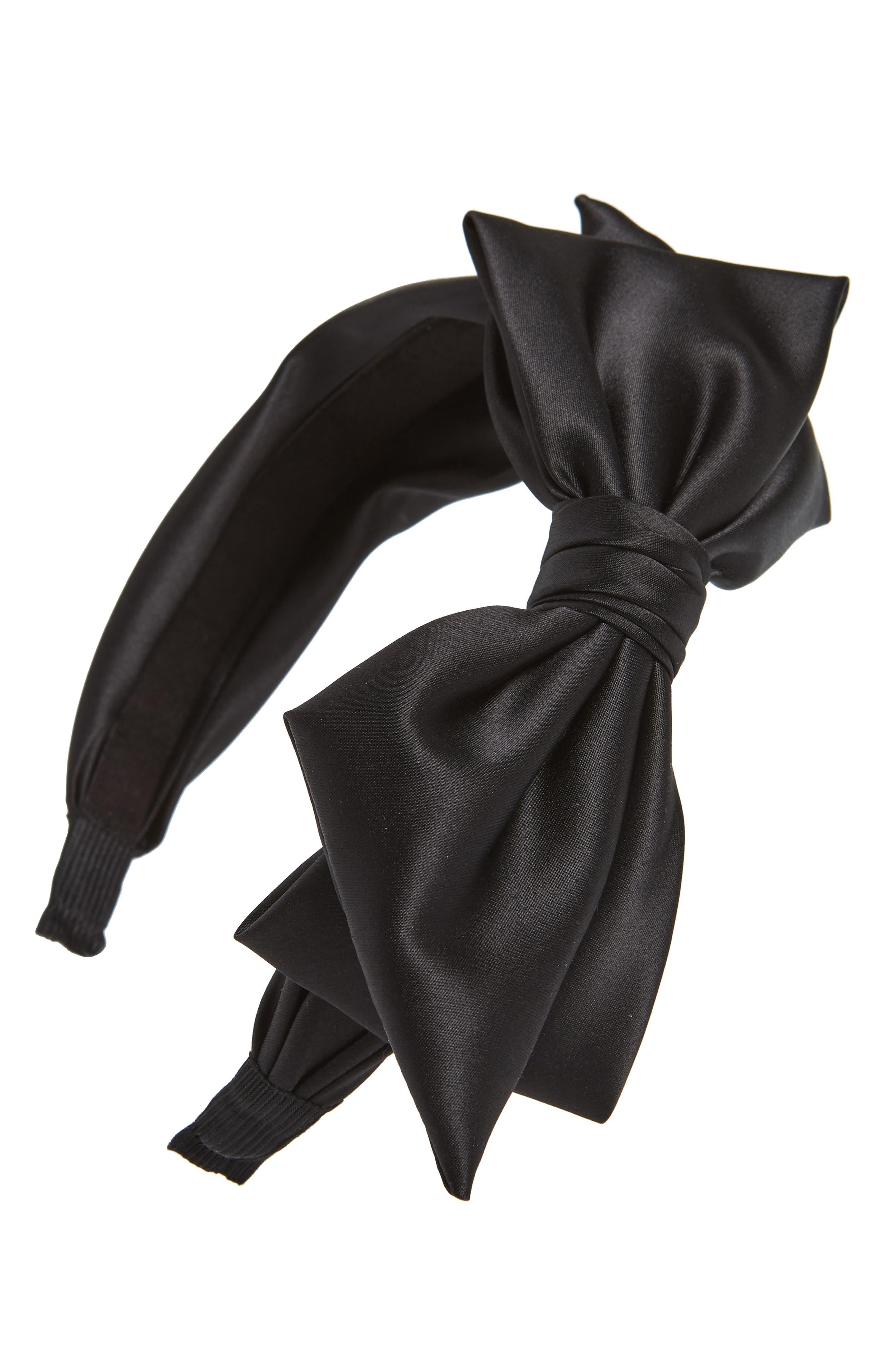 Satin Bow Headband,                         Main,                         color, BLACK