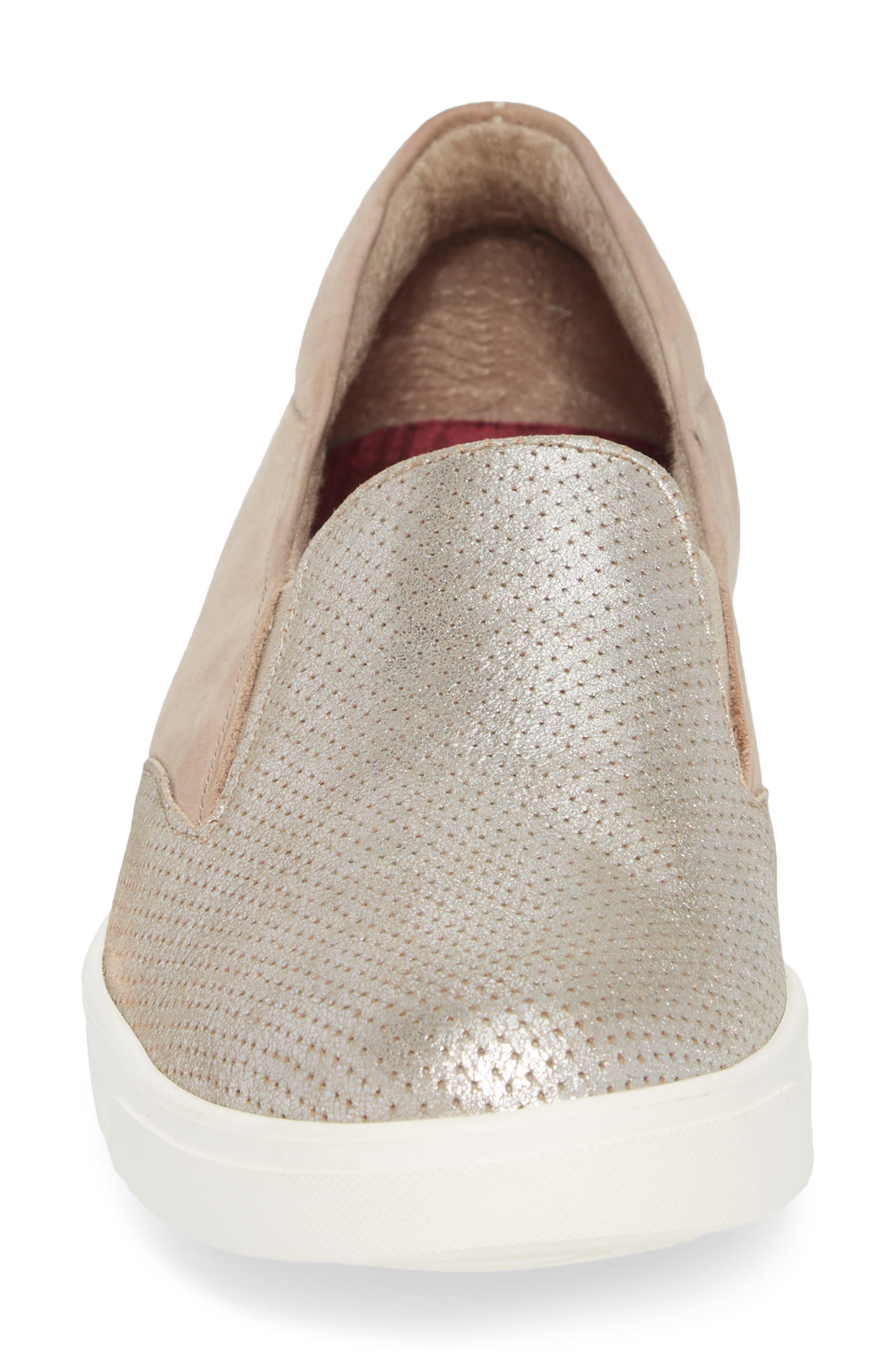 Lulu Slip-On Sneaker,                             Alternate thumbnail 4, color,                             BRUSHED SILVER NUBUCK