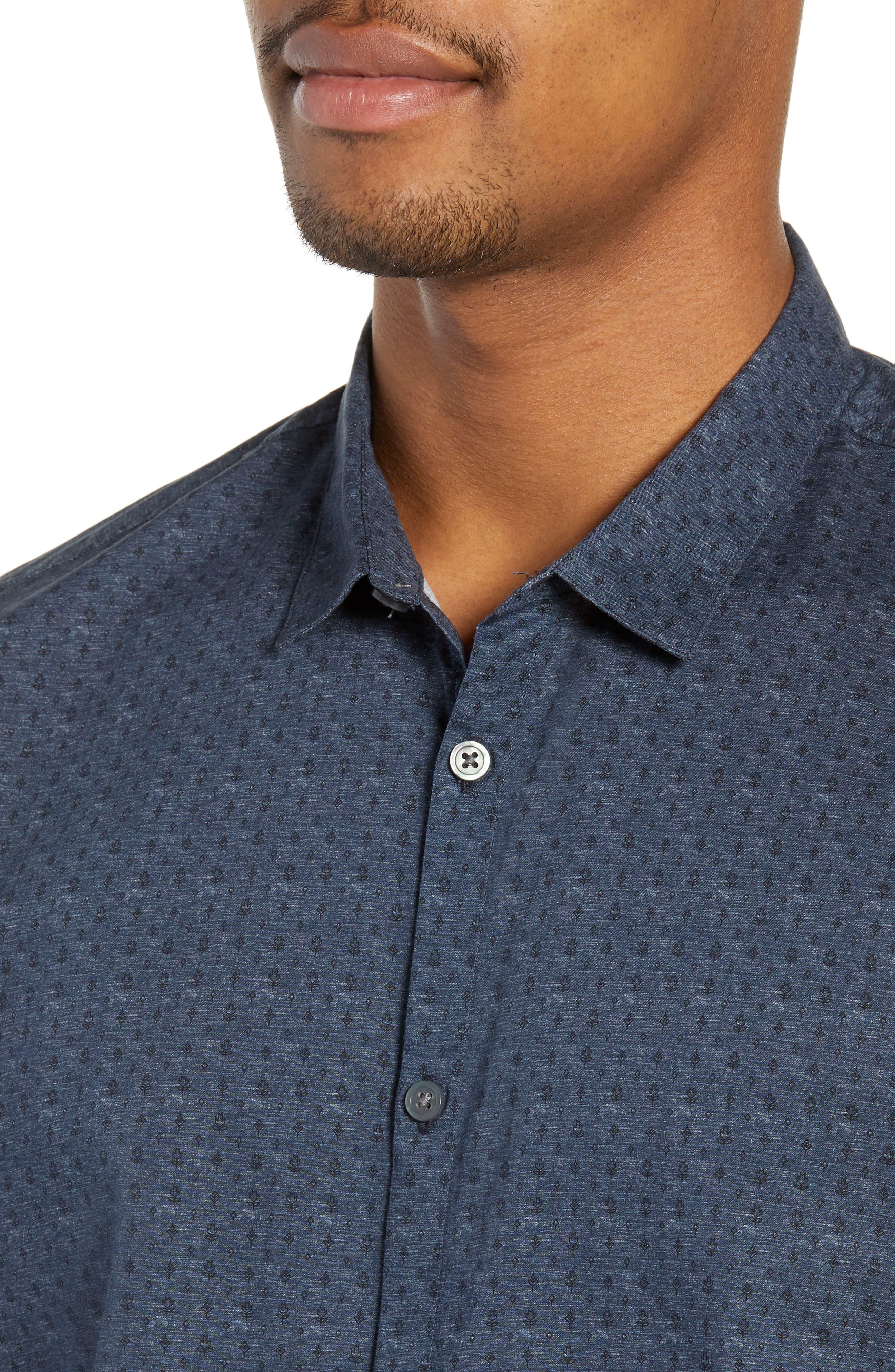 JOHN VARVATOS STAR USA,                             Regular Fit Foulard Print Sport Shirt,                             Alternate thumbnail 2, color,                             TITANIUM BLUE