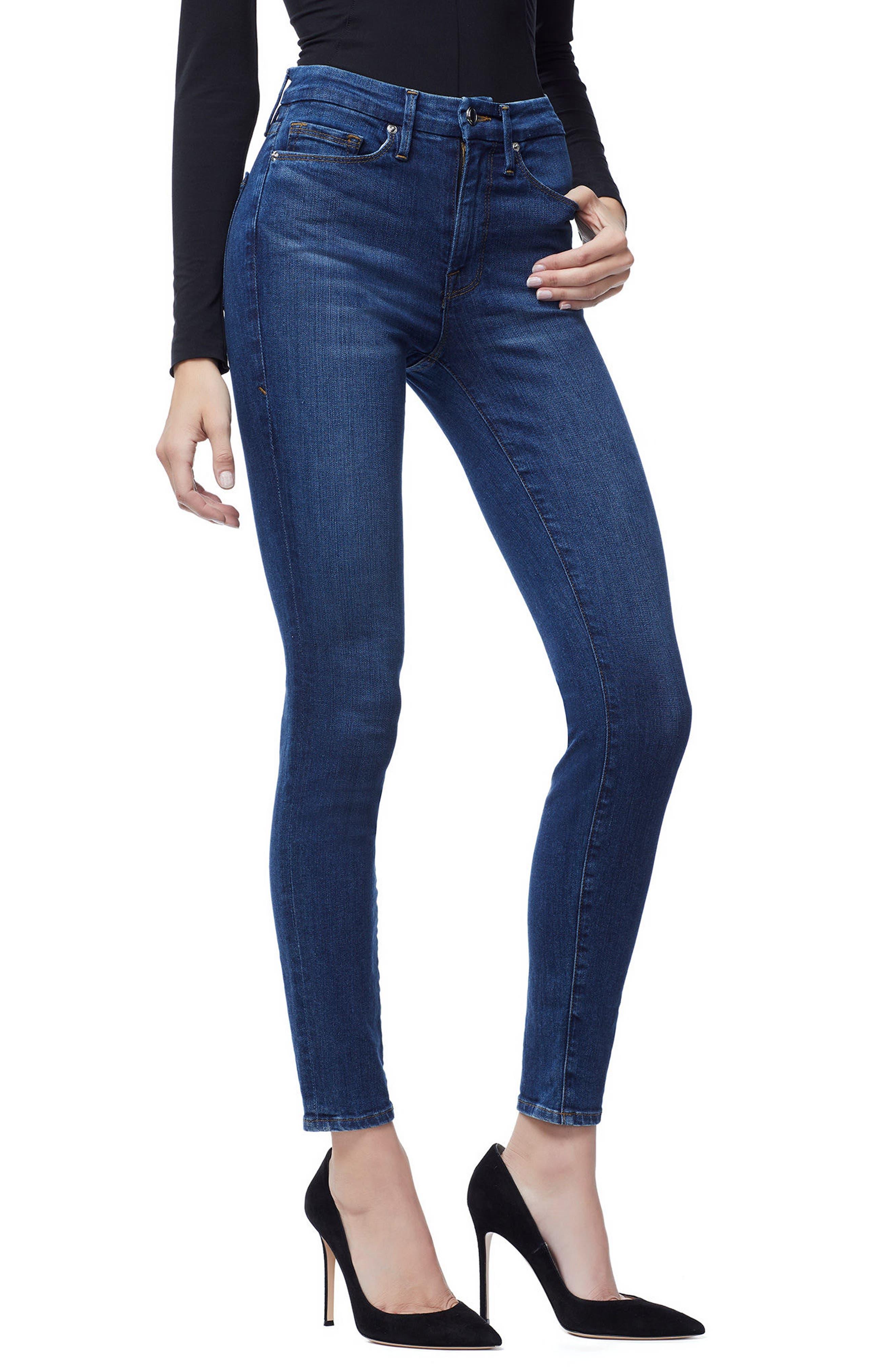 Good Waist High Waist Skinny Jeans,                             Alternate thumbnail 4, color,                             BLUE 161