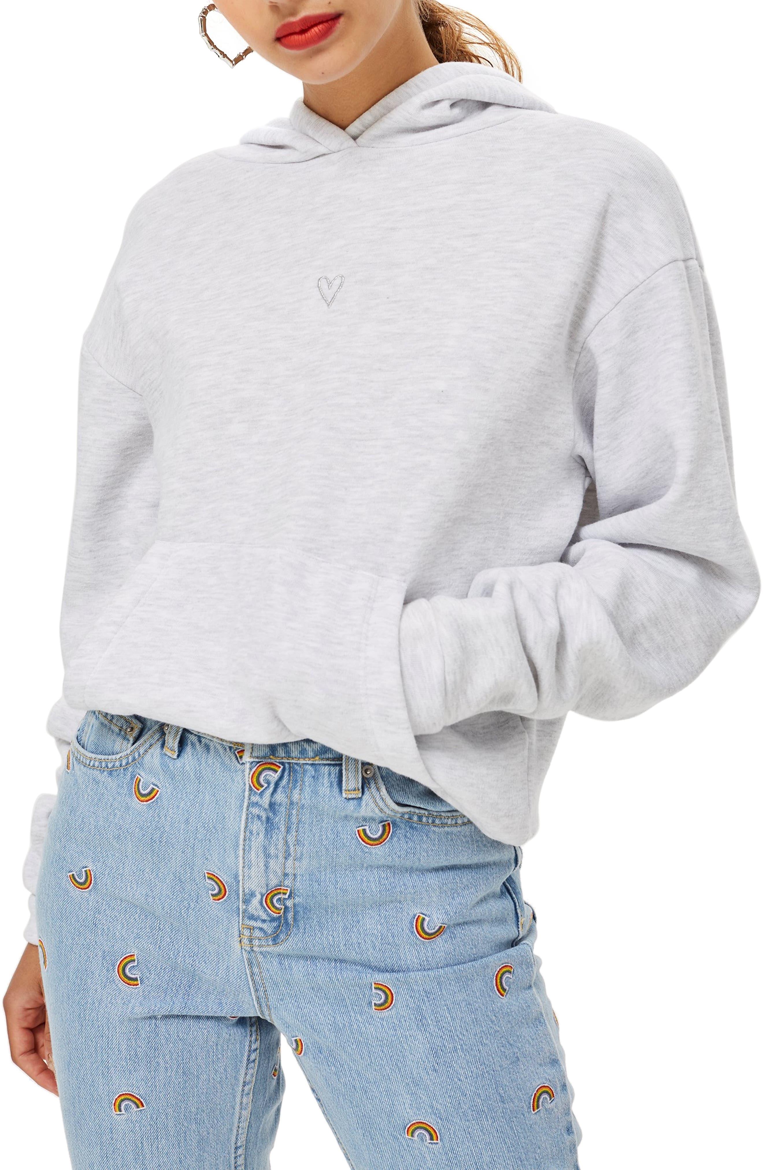 Heart Hoodie Sweatshirt,                         Main,                         color, GREY MARL