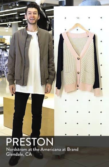 Colorblock Cable Knit Button Cardigan, sales video thumbnail