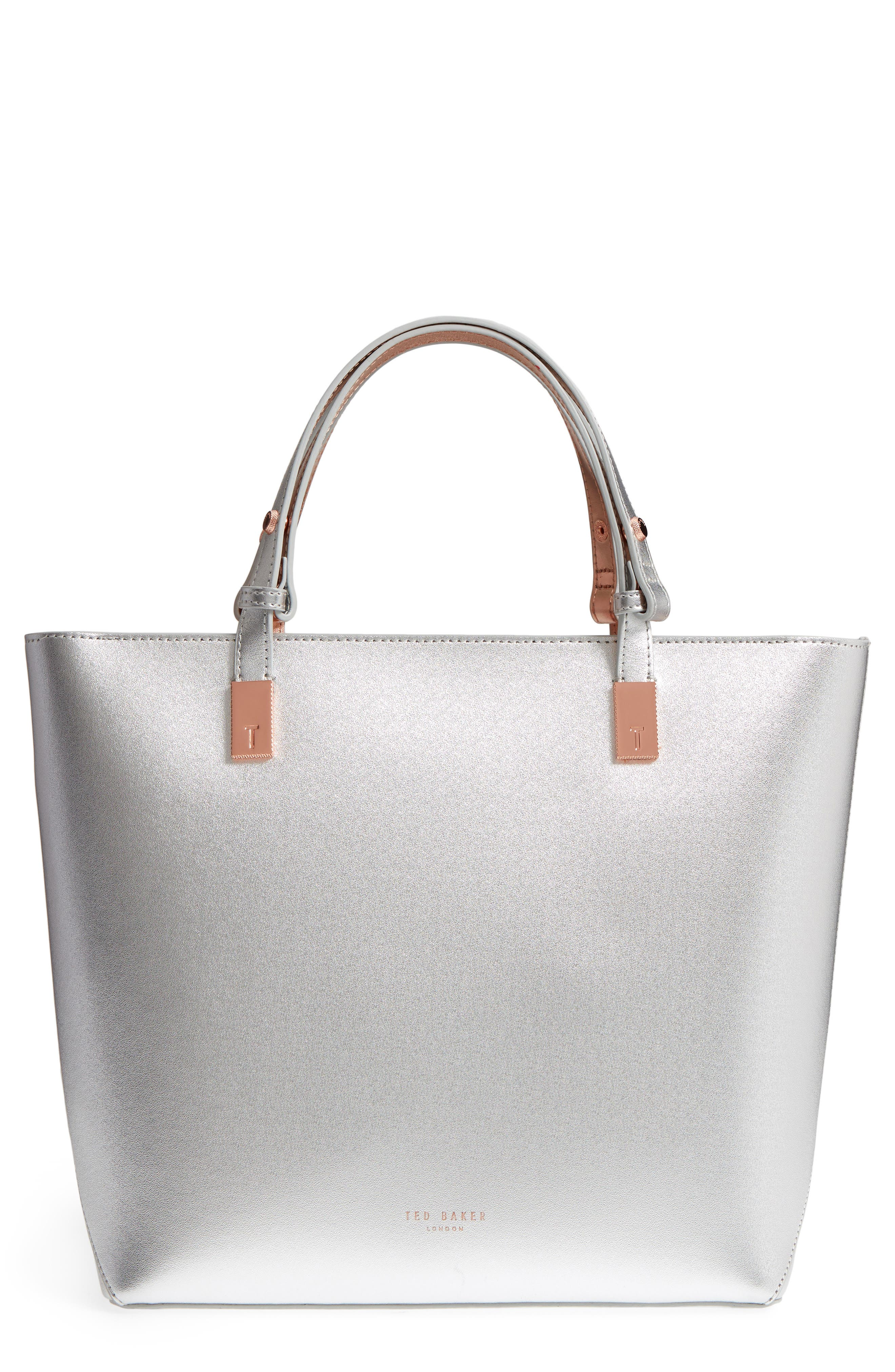 Adjustable Handle Leather Tote, Main, color, SILVER