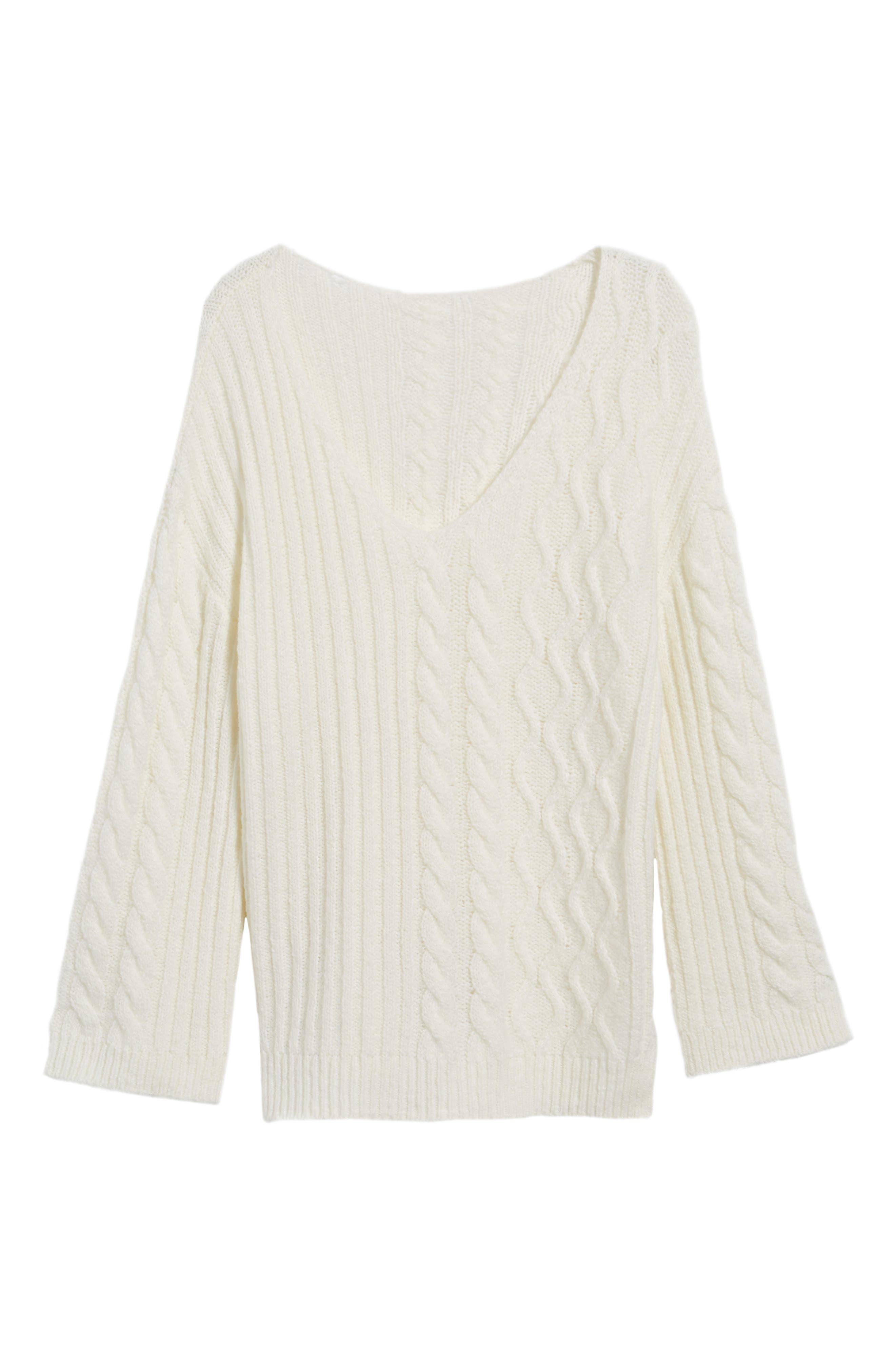 Mix Stitch Cotton Blend Sweater,                             Alternate thumbnail 12, color,