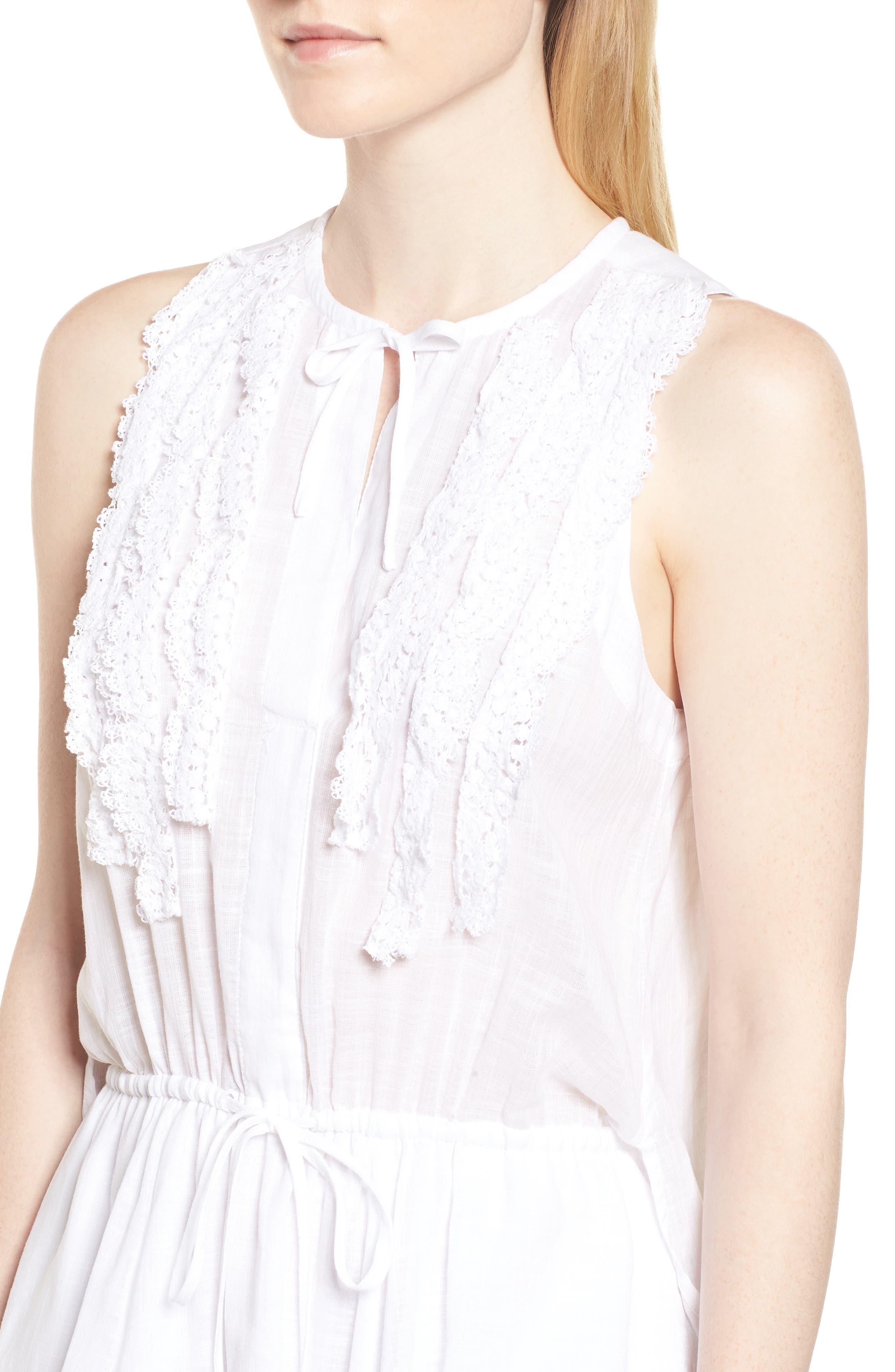 Crochet Trim High/Low Dress,                             Alternate thumbnail 4, color,                             WHITE