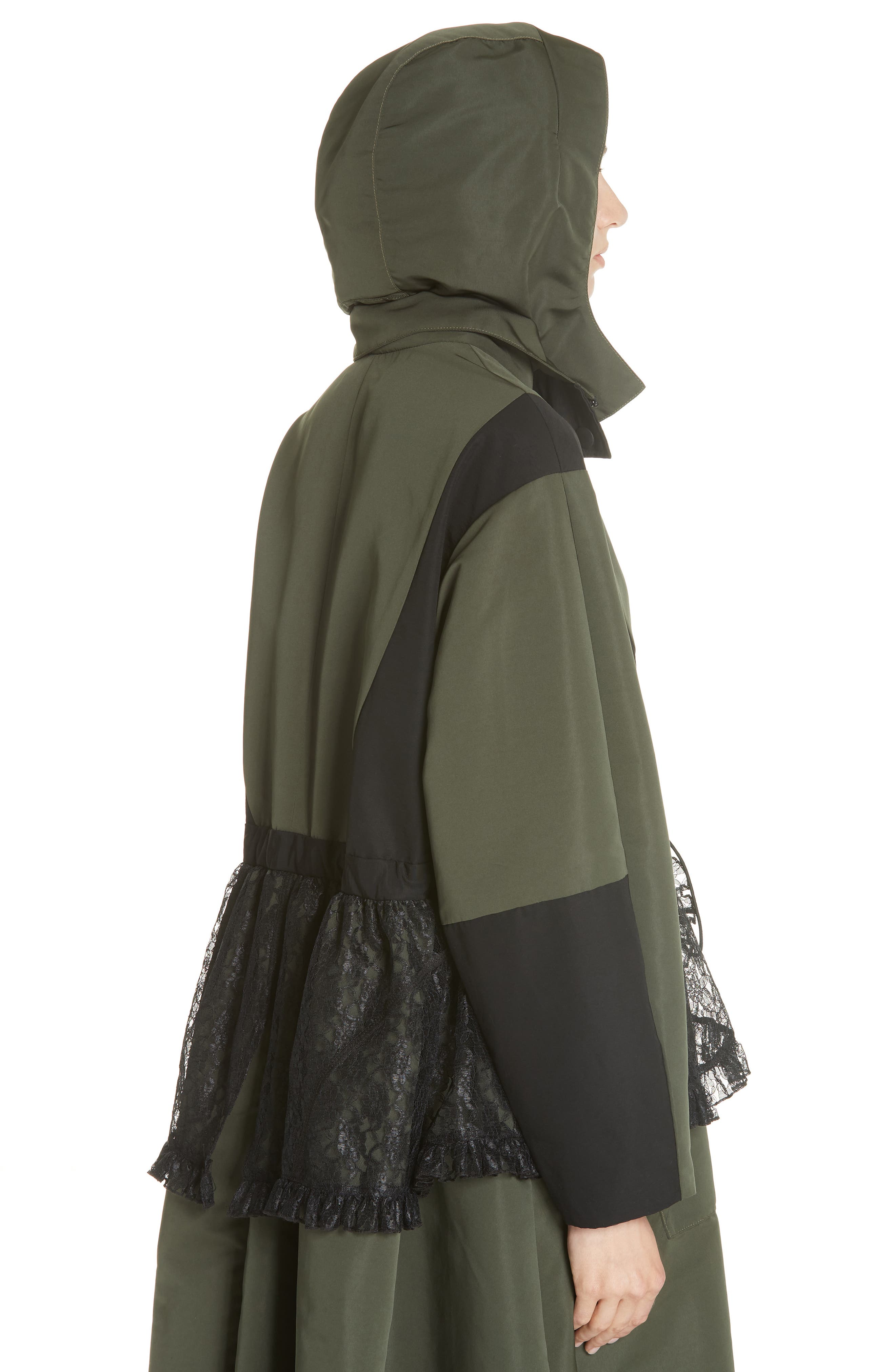 Lace Overlay Hooded Coat,                             Alternate thumbnail 6, color,                             OLIVE BLACK
