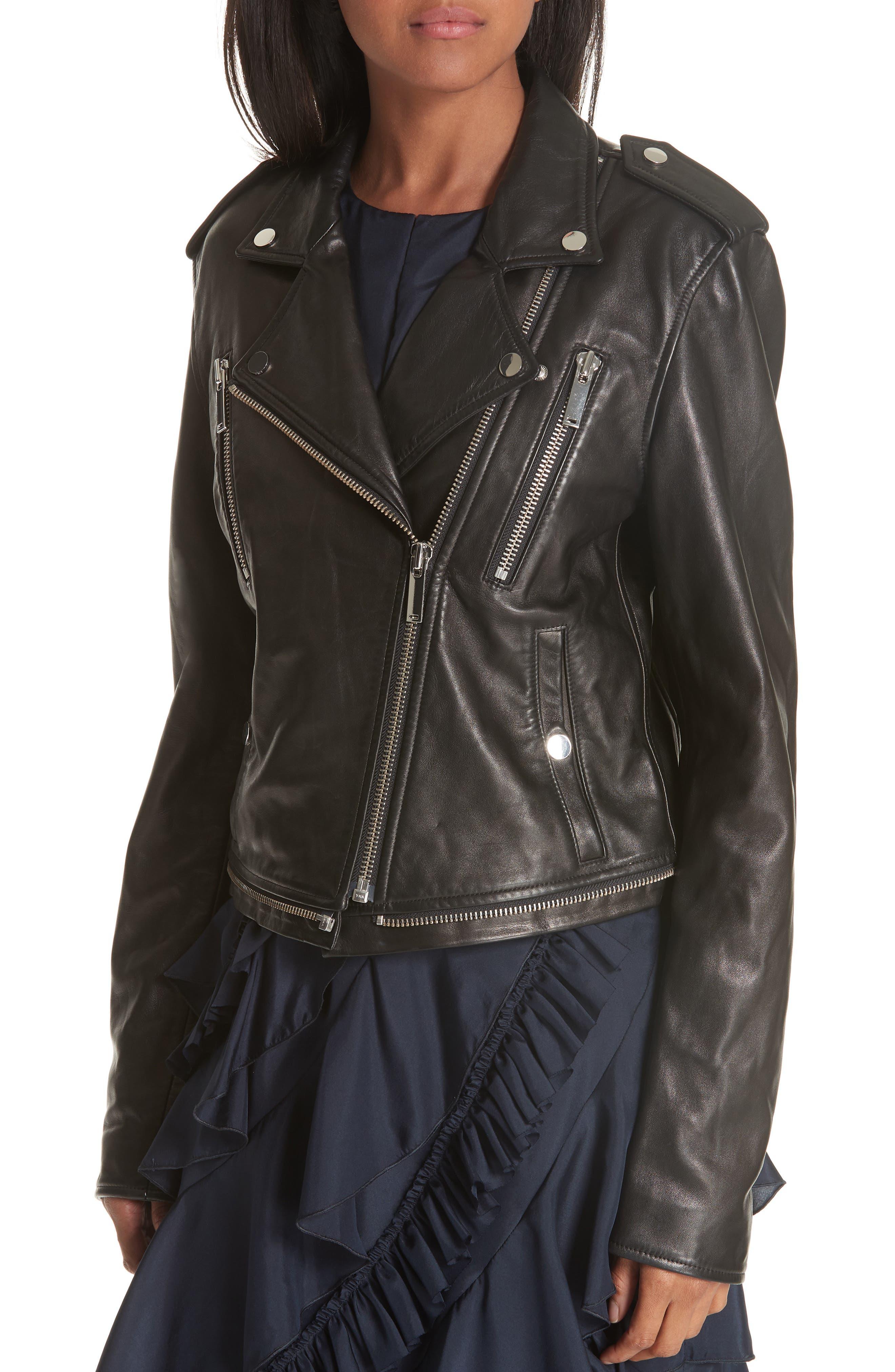 Lambskin Leather Jacket,                             Alternate thumbnail 2, color,                             BLACK