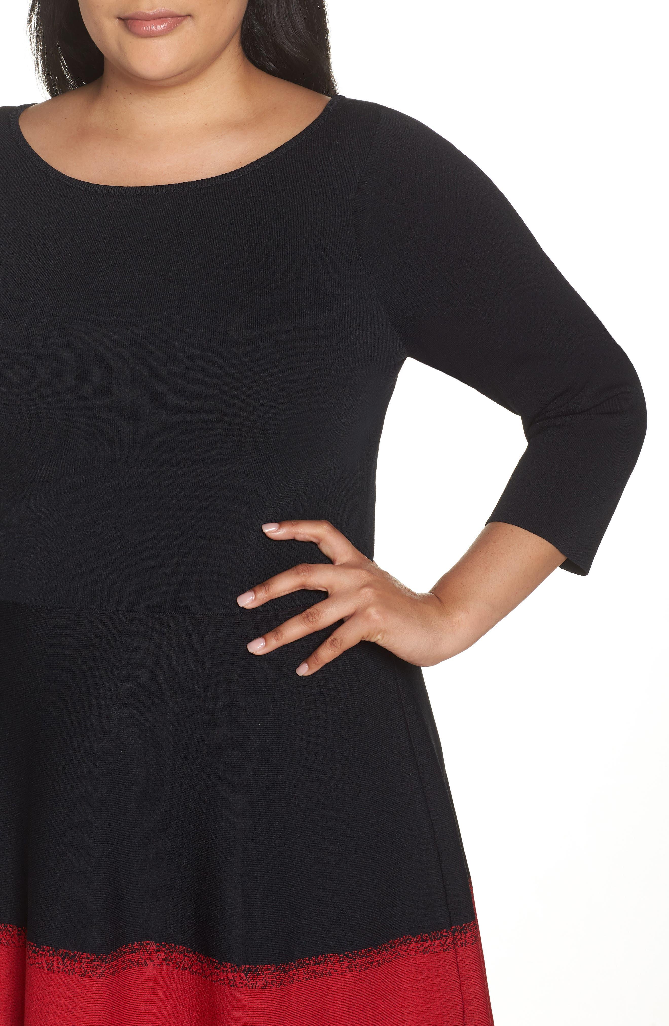 Contrast Stripe Fit & Flare Dress,                             Alternate thumbnail 4, color,                             BLACK