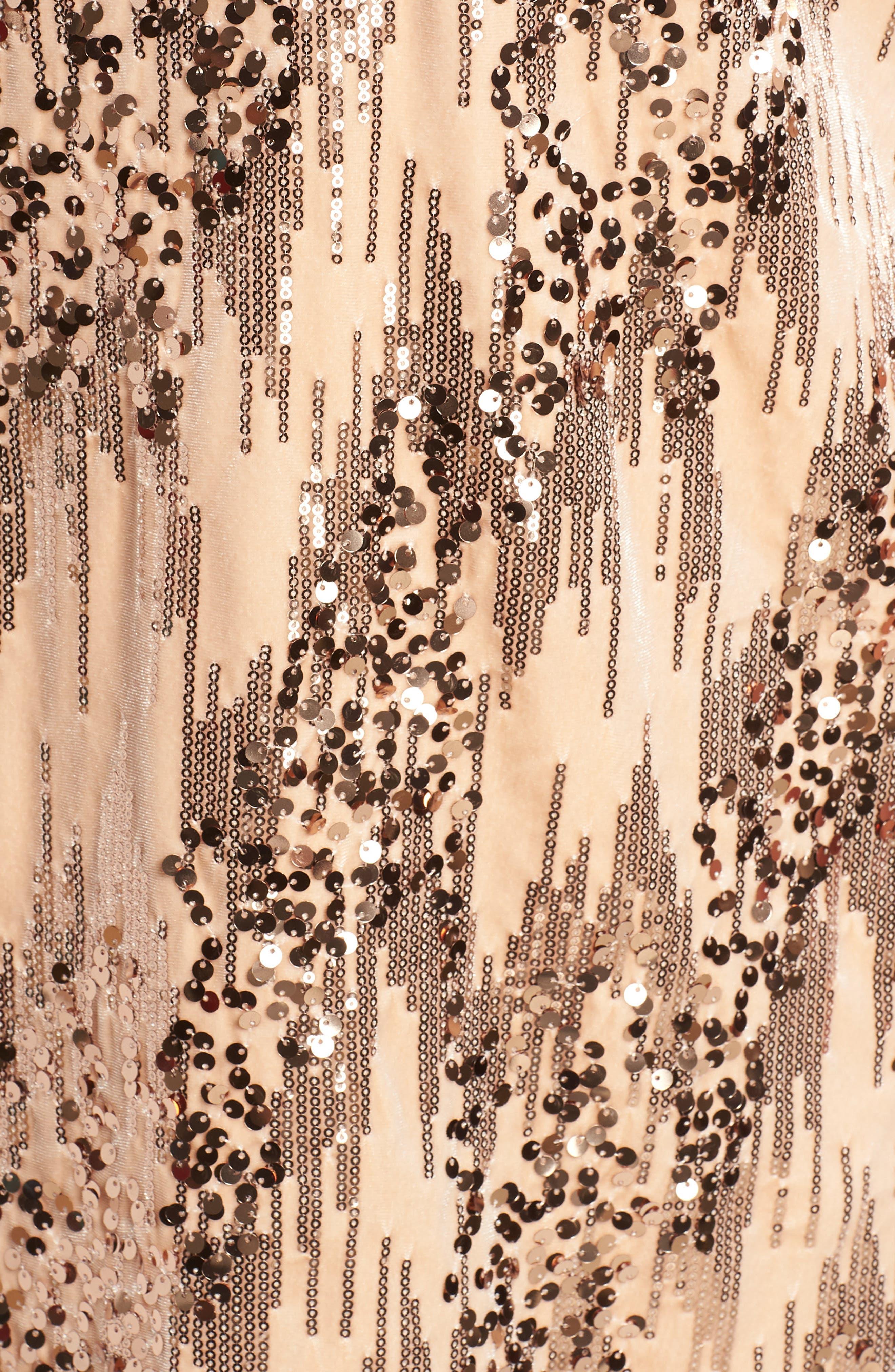 Sequin Velvet Shift Dress,                             Alternate thumbnail 5, color,                             BLUSH