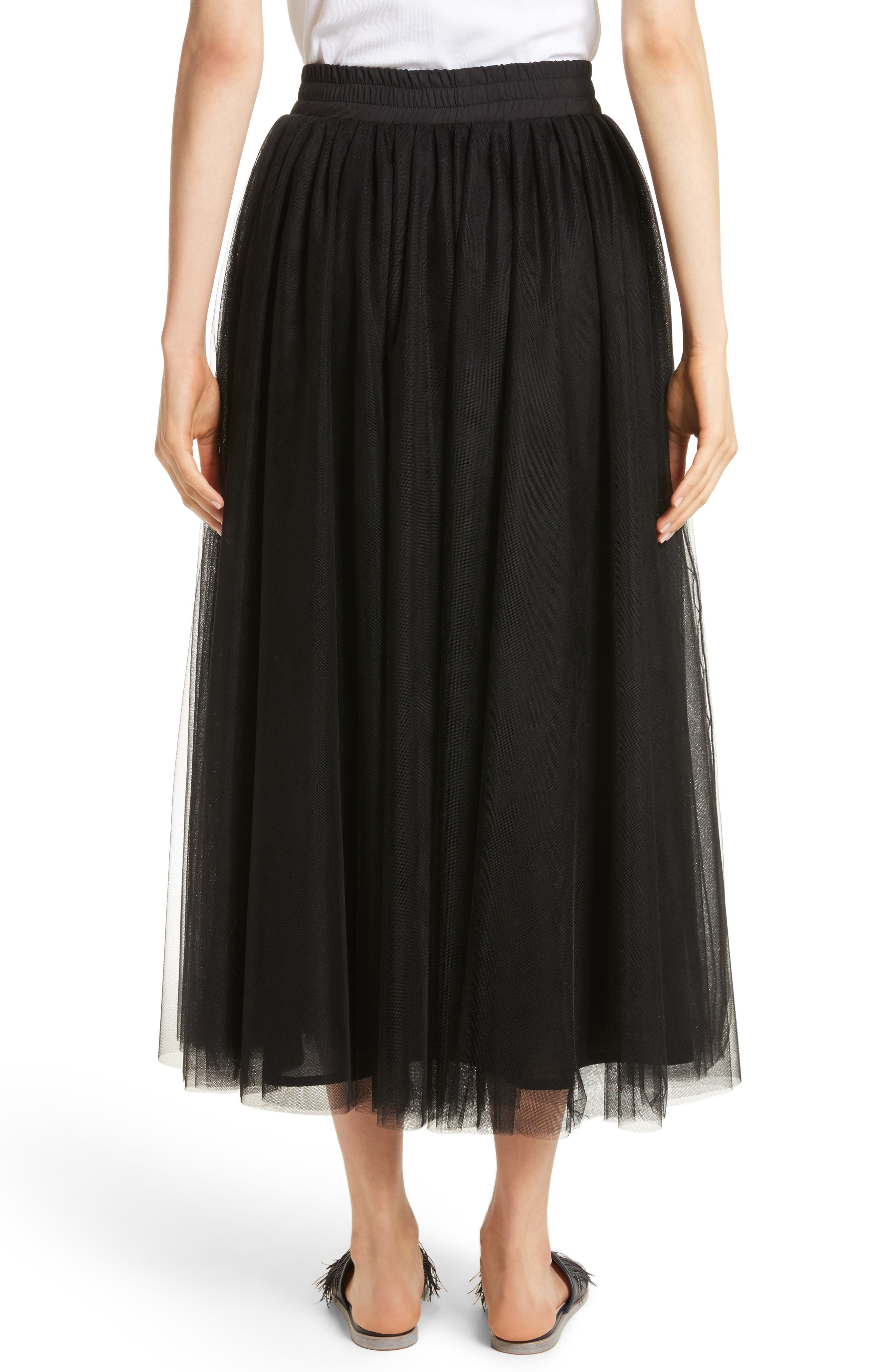 Tulle Midi Skirt,                             Alternate thumbnail 2, color,                             001