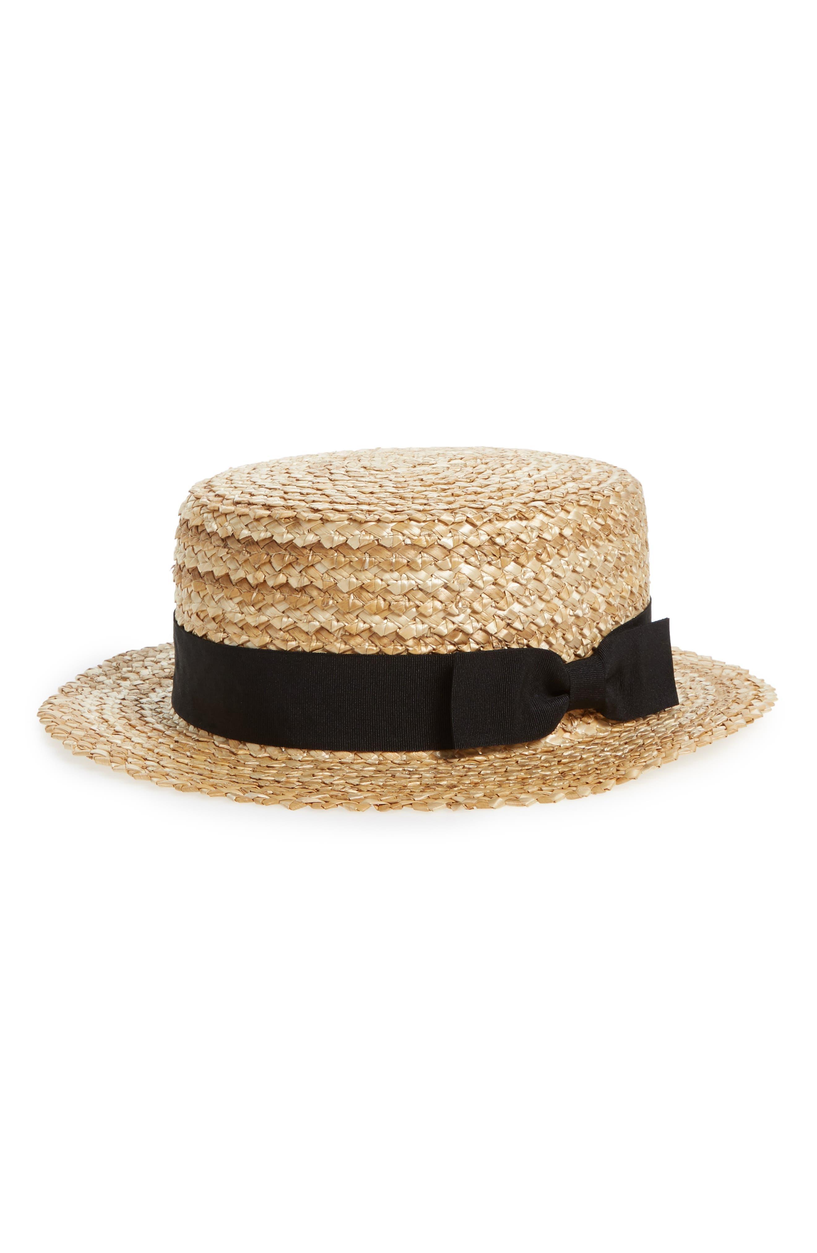 Ribbon Straw Boater Hat,                             Main thumbnail 1, color,                             250