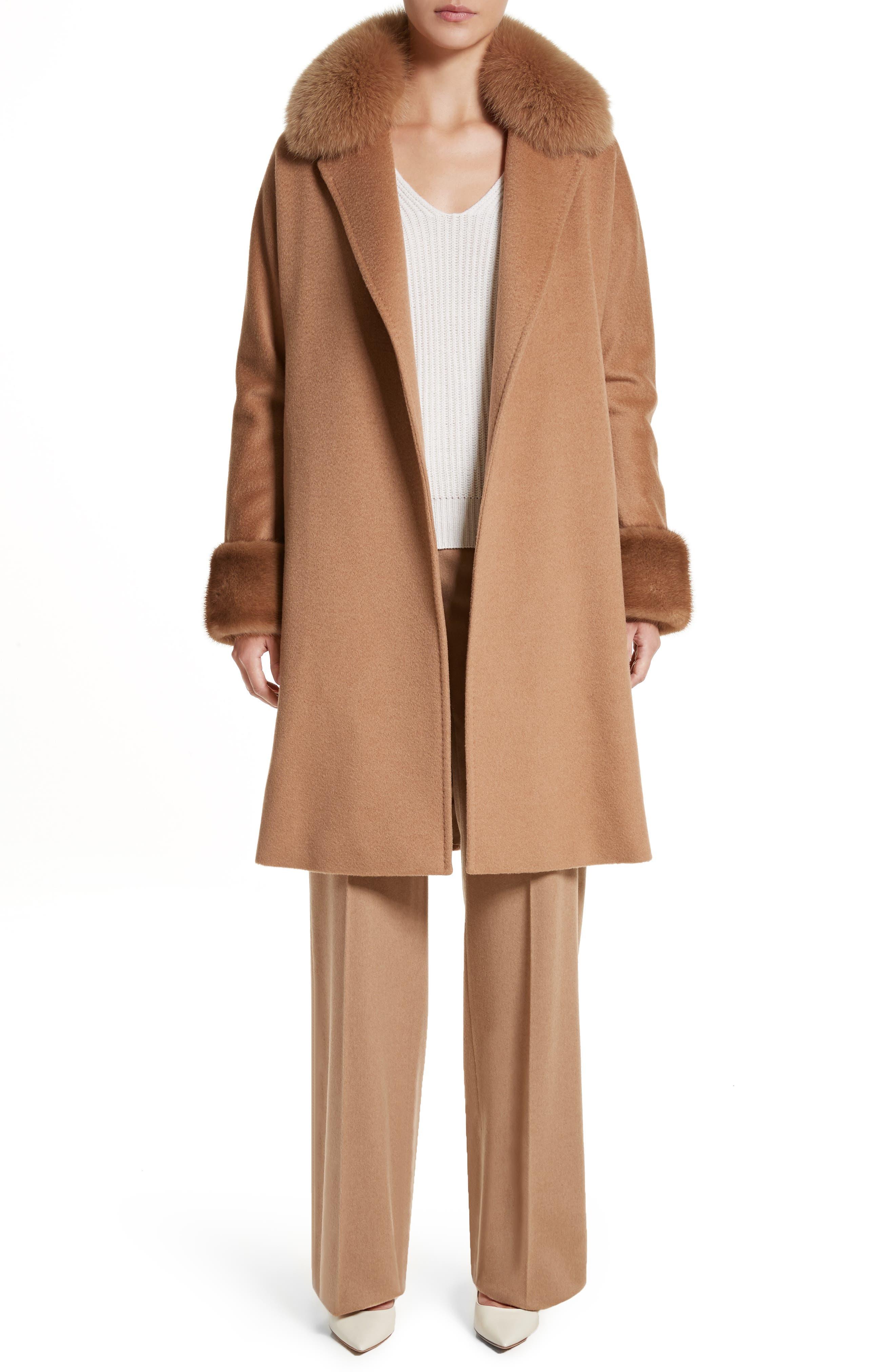 Camel Hair Coat with Genuine Fox Fur & Genuine Mink Fur Trim,                             Alternate thumbnail 7, color,                             232