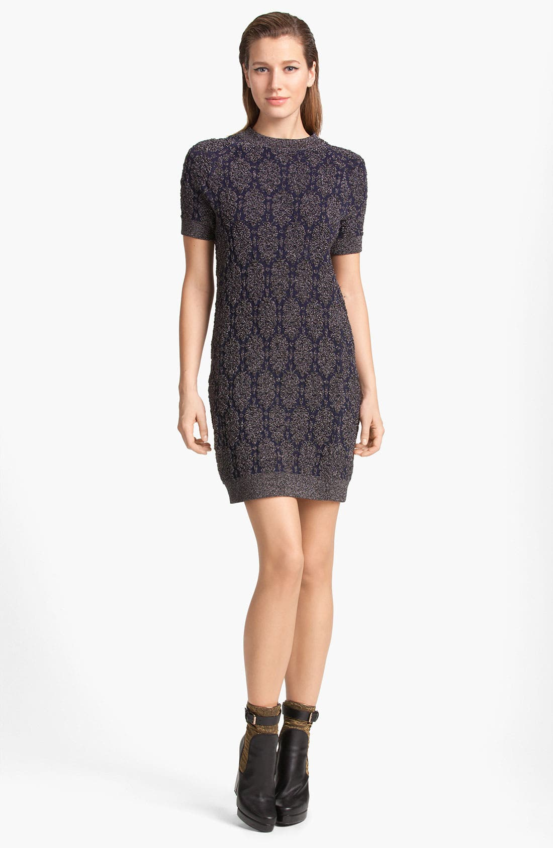 Lamé Knit Dress,                             Main thumbnail 1, color,                             099