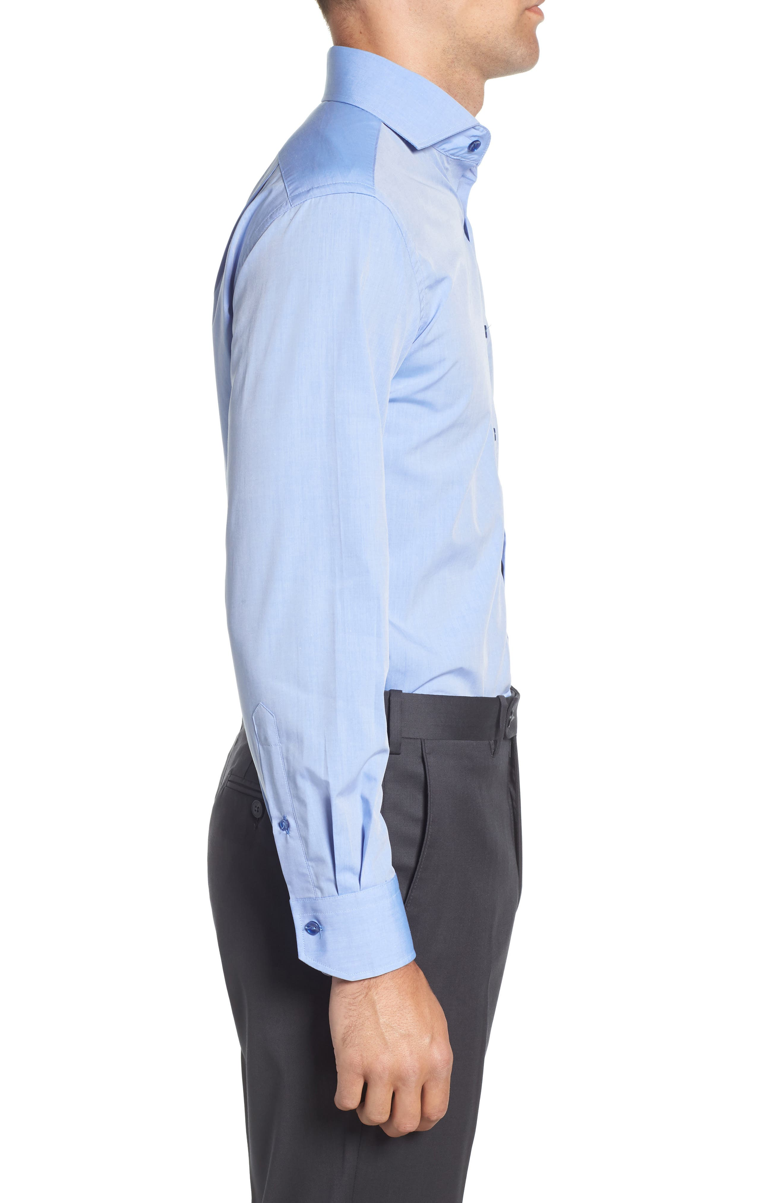 Trim Fit Solid Dress Shirt,                             Alternate thumbnail 4, color,                             BLUE