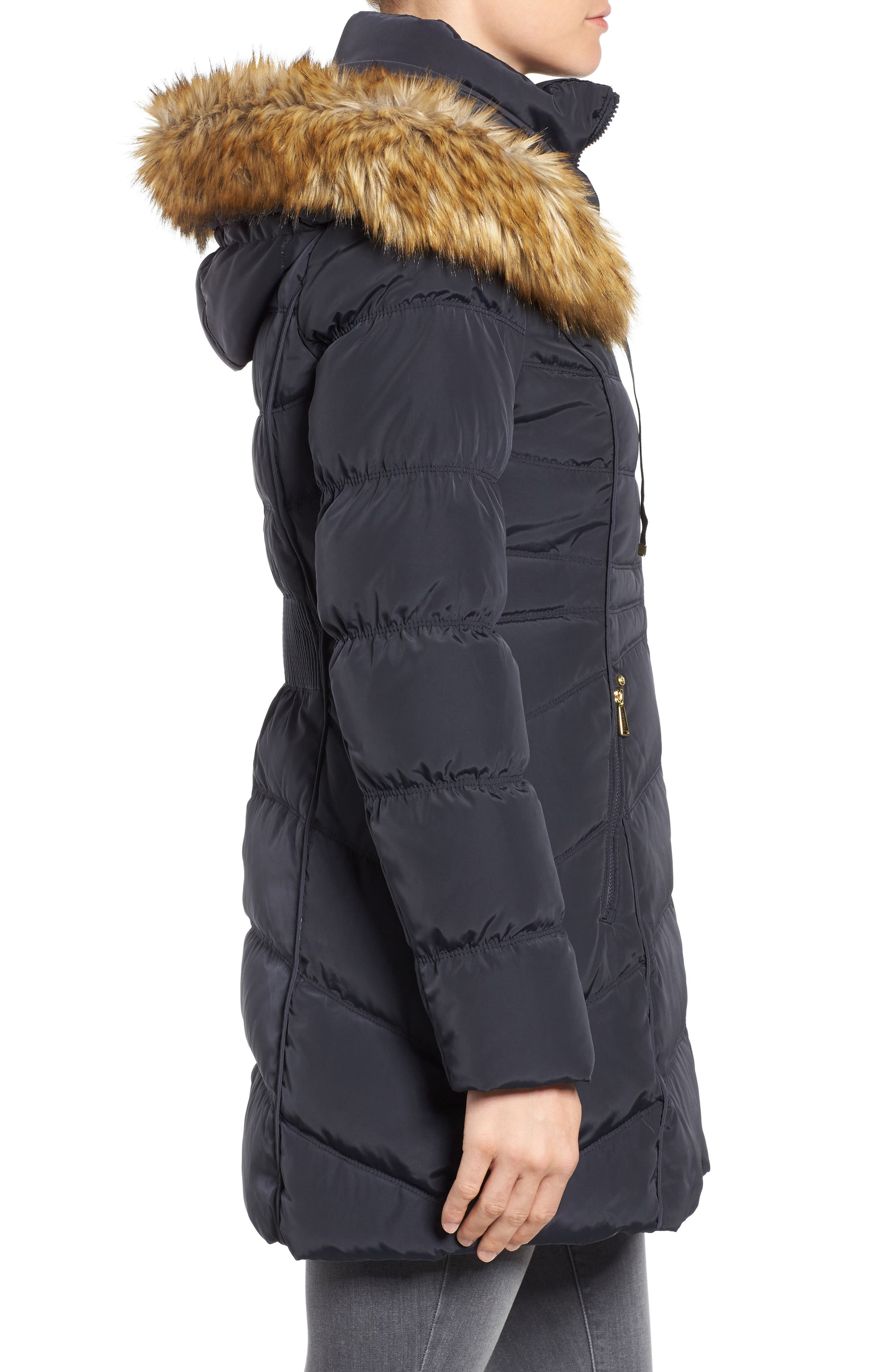 Hooded Down & Feather Fill Coat with Detachable Faux Fur Trim,                             Alternate thumbnail 3, color,                             454