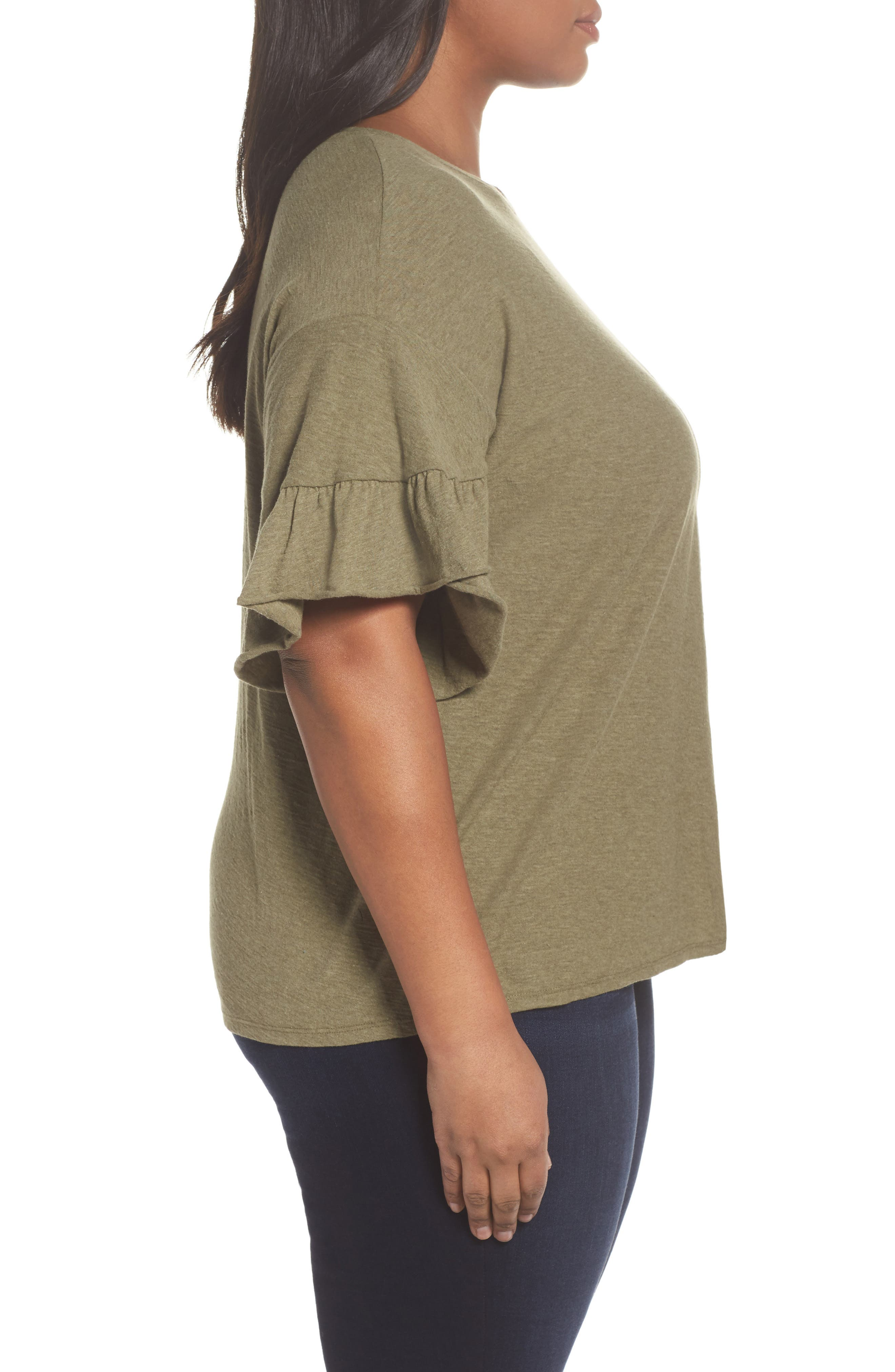 Drop Shoulder Tiered Ruffle Sleeve Top,                             Alternate thumbnail 6, color,