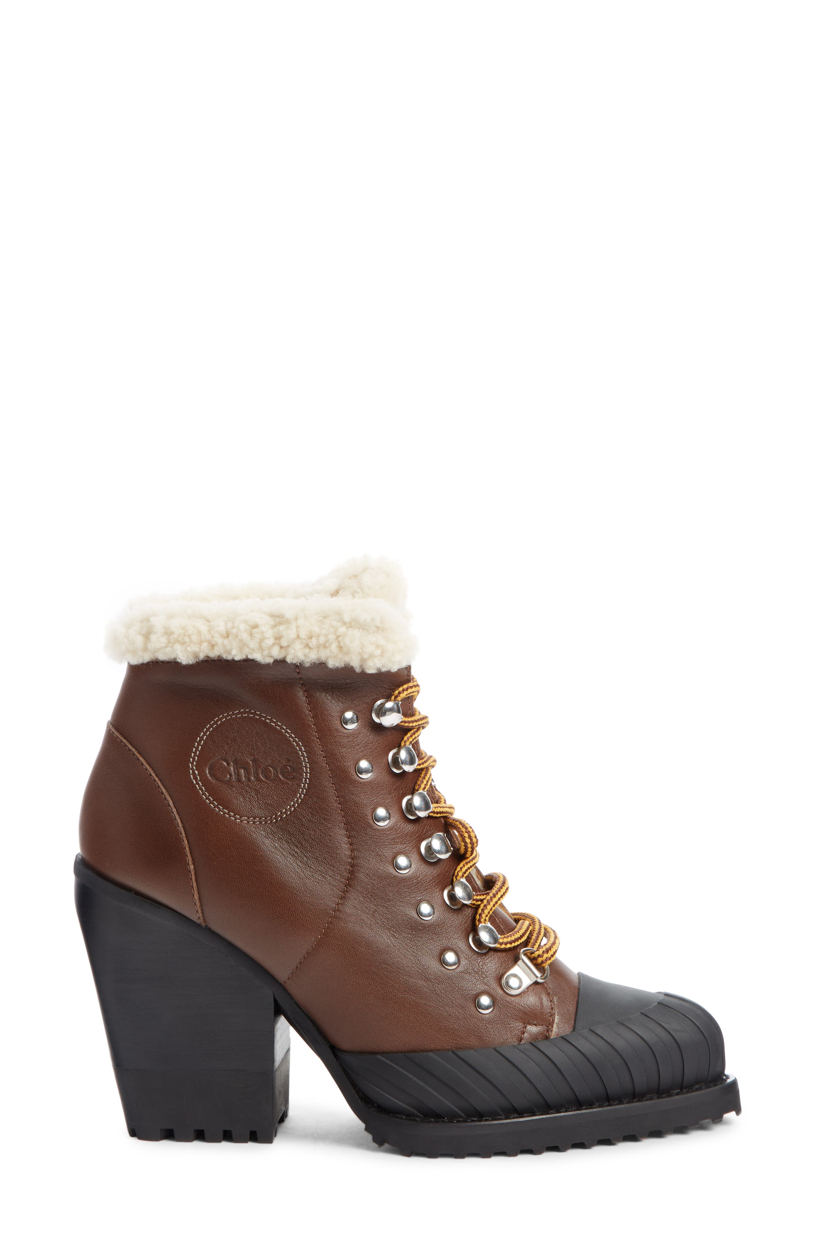 Rylee Genuine Shearling Lined Hiking Boot,                             Alternate thumbnail 3, color,                             TRUE BROWN LEATHER