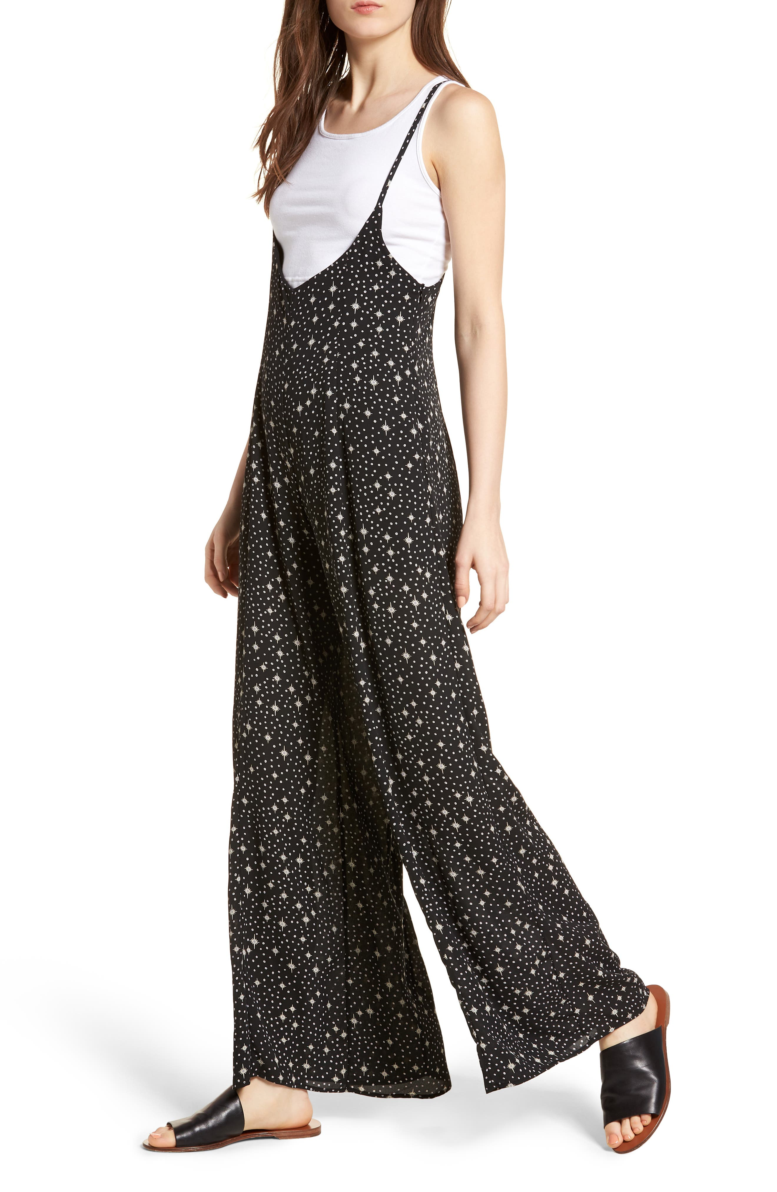 Wide Leg Jumpsuit,                             Alternate thumbnail 4, color,                             001