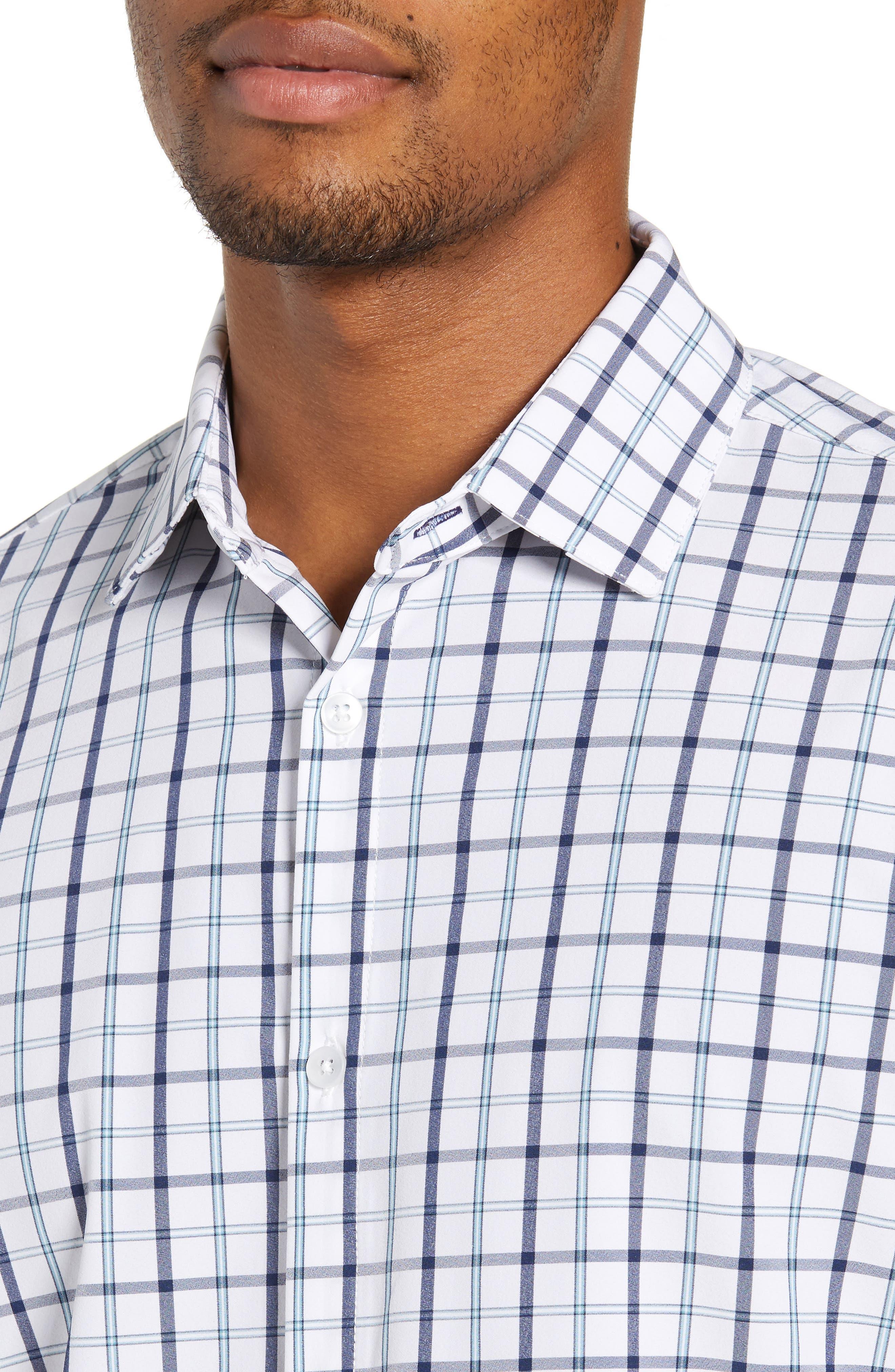 Bowers Regular Fit Check Performance Sport Shirt,                             Alternate thumbnail 2, color,                             NAVY