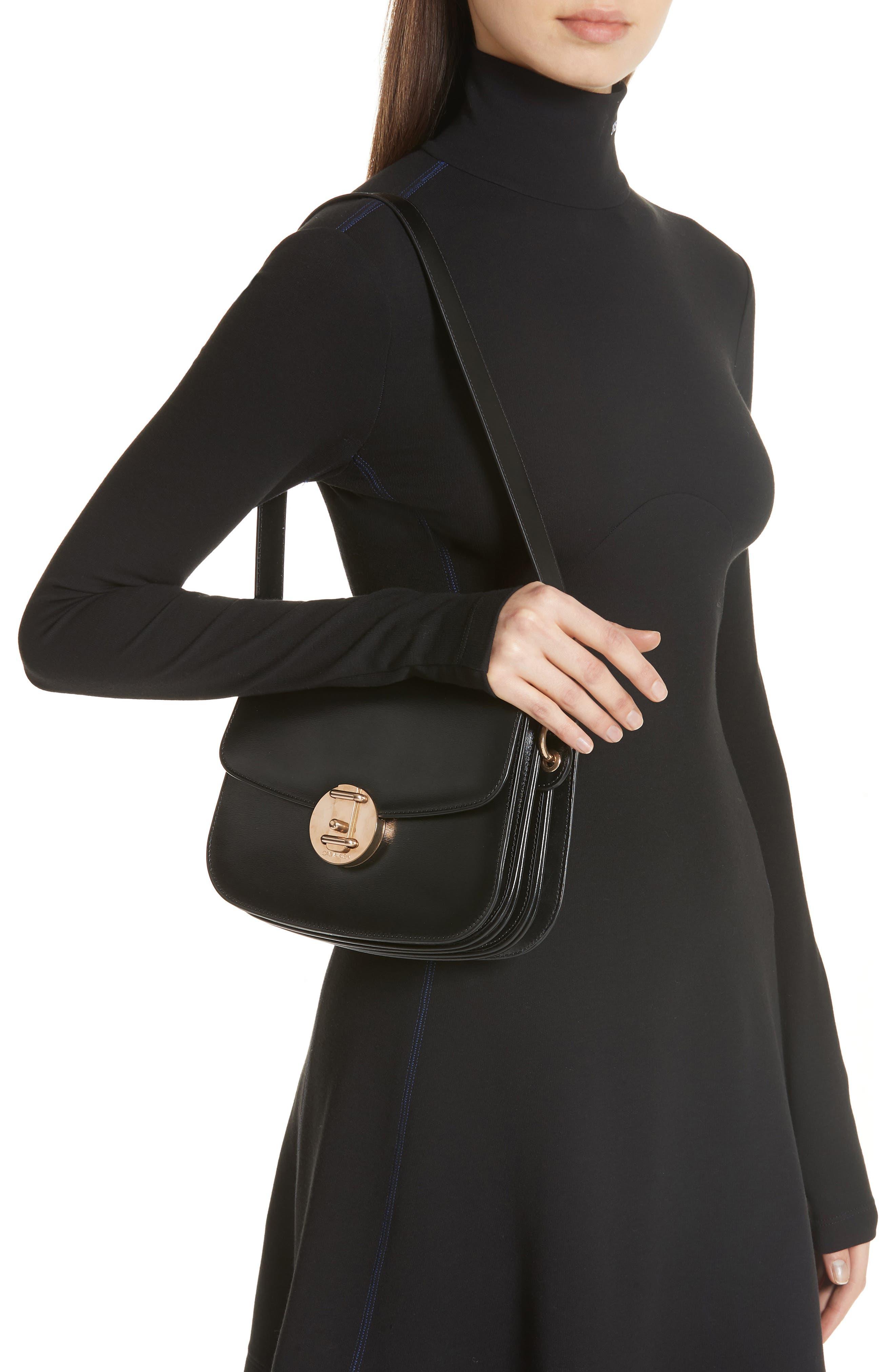 CALVIN KLEIN 209W39NYC Small Round Lock Shoulder Bag,                             Alternate thumbnail 2, color,                             BLACK