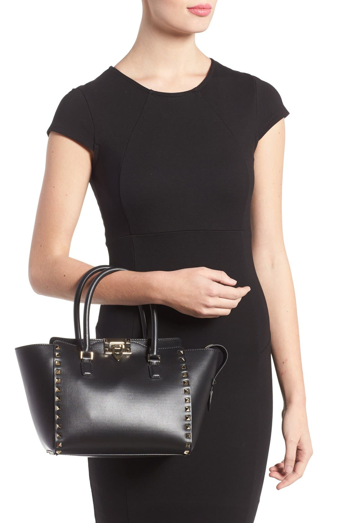Rockstud Small Double Handle Leather Tote,                             Alternate thumbnail 8, color,                             001