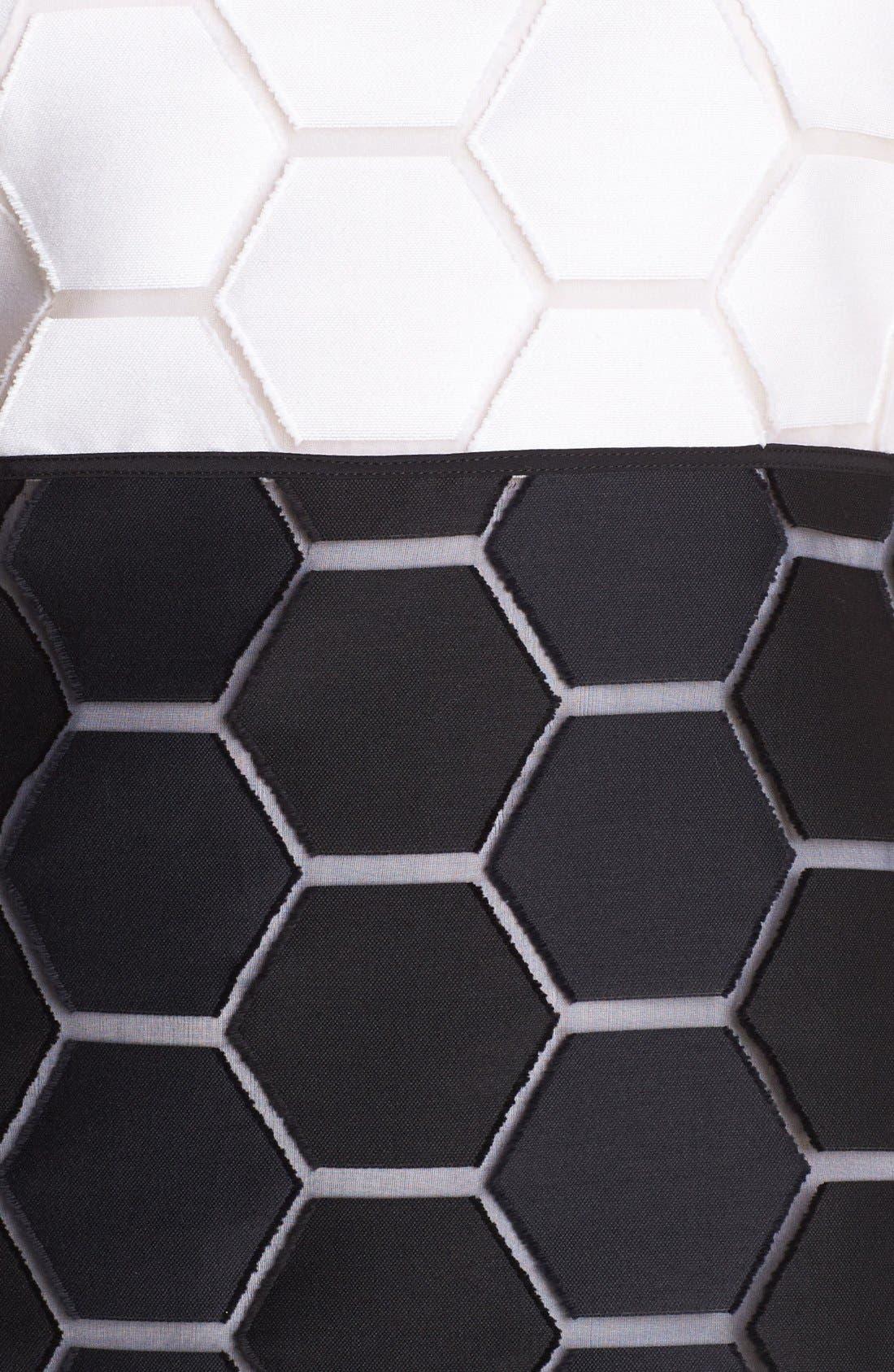 'Eloise' Hexagon Pattern Sleeveless Shift Dress,                             Alternate thumbnail 2, color,                             100