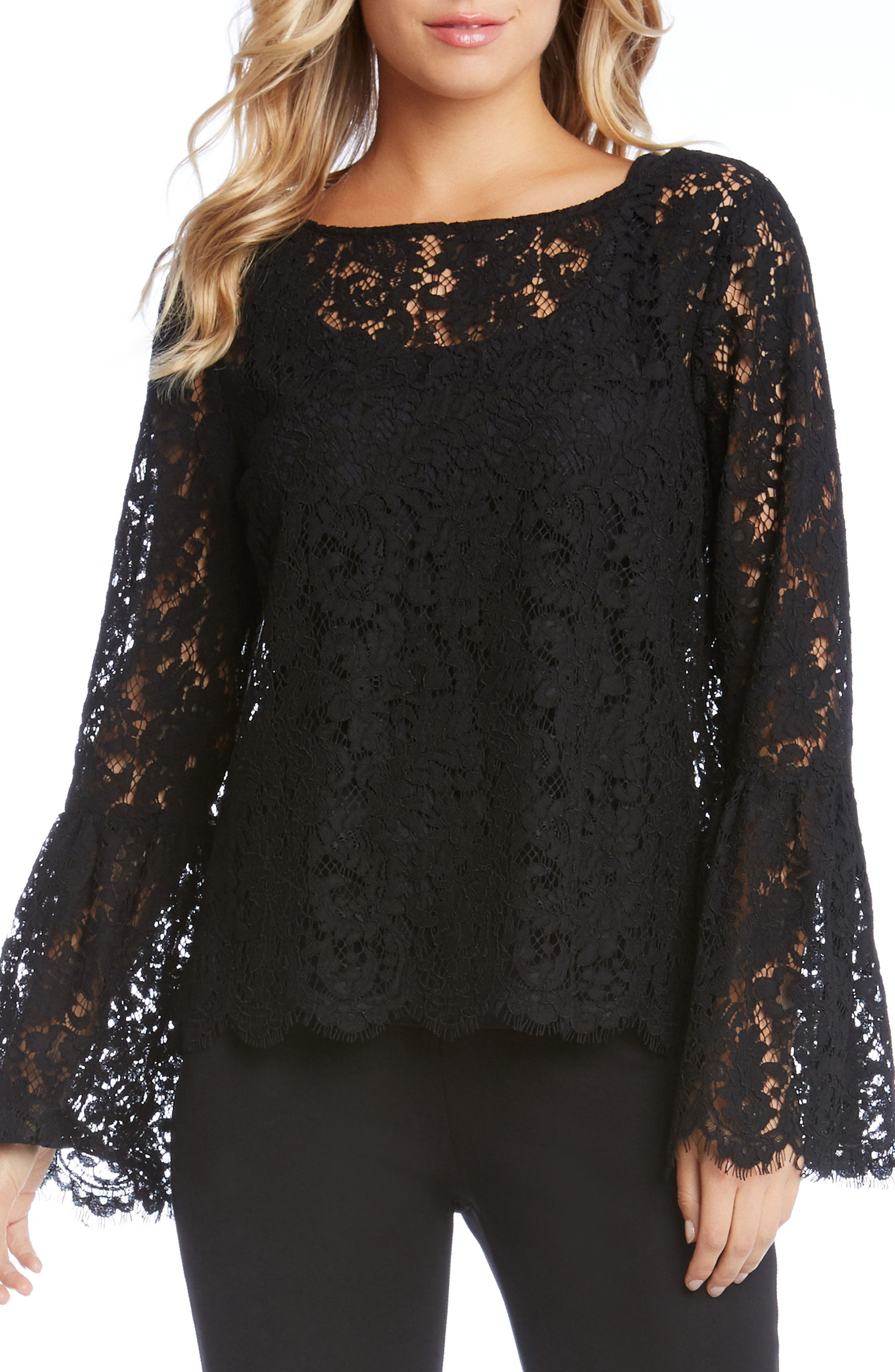 Lace Bell Sleeve Top,                             Main thumbnail 1, color,                             001