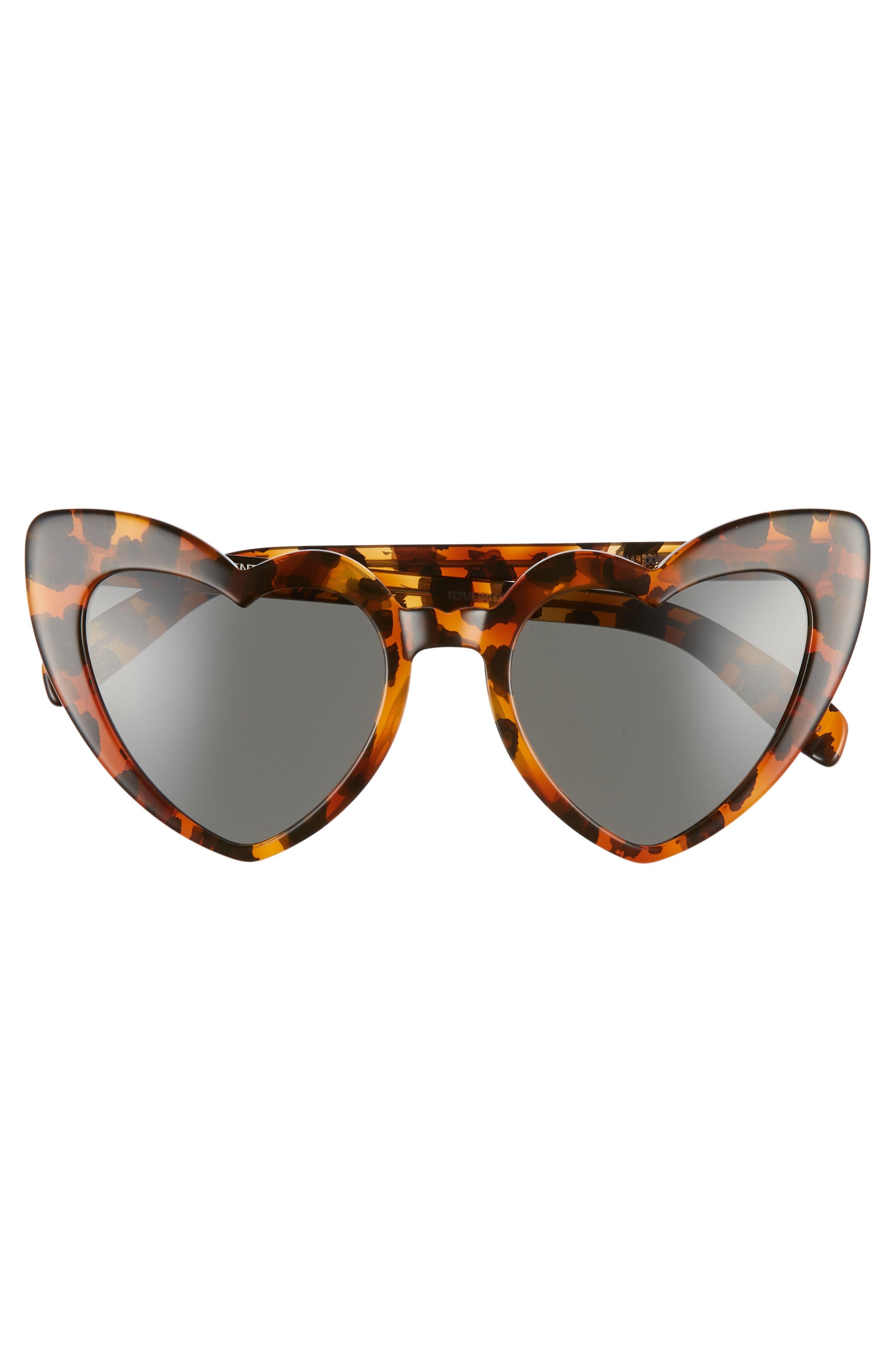 SAINT LAURENT,                             Loulou 54mm Heart Sunglasses,                             Alternate thumbnail 3, color,                             LEOPARD HAVANA/ GREY