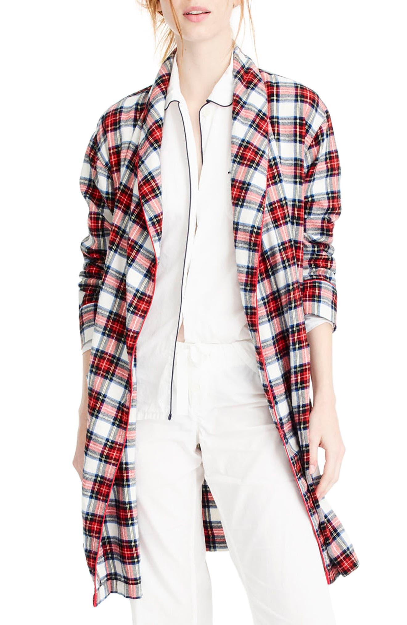 Whiteout Plaid Flannel Short Robe,                             Alternate thumbnail 2, color,                             600