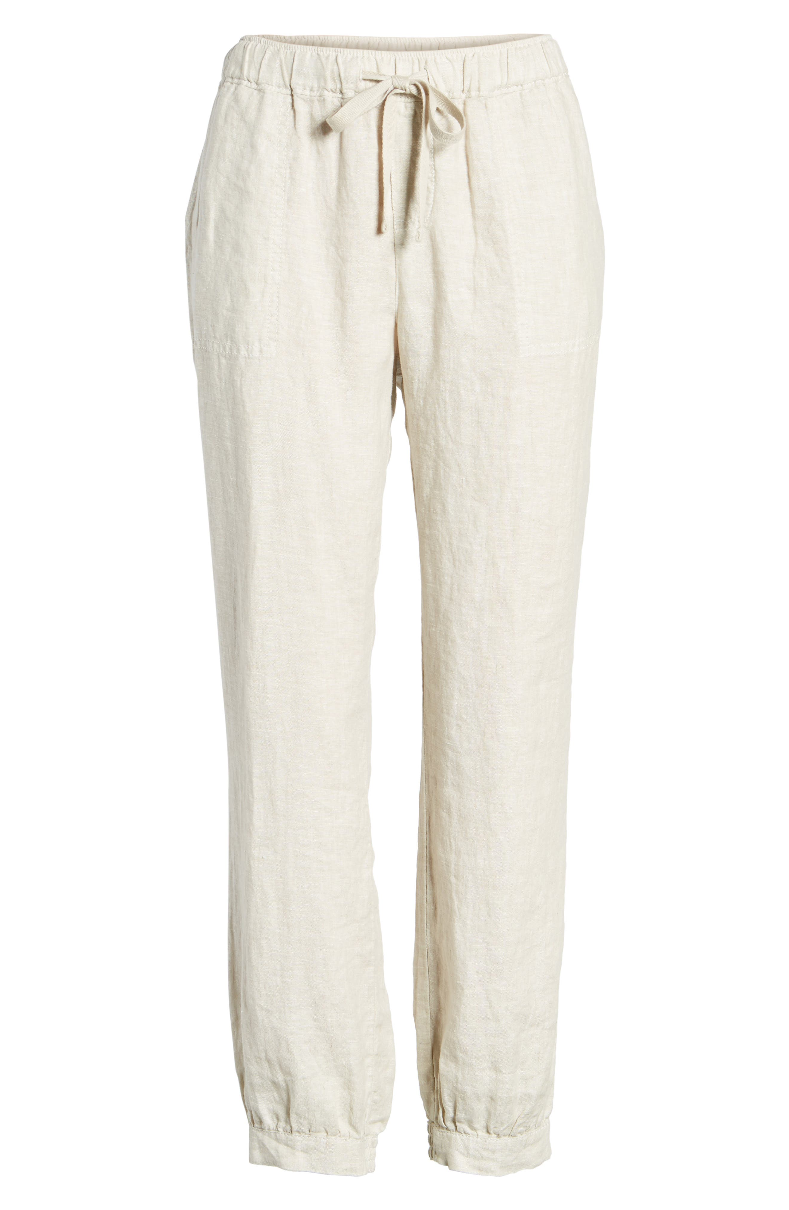 Crop Linen Joggers,                             Alternate thumbnail 6, color,                             260