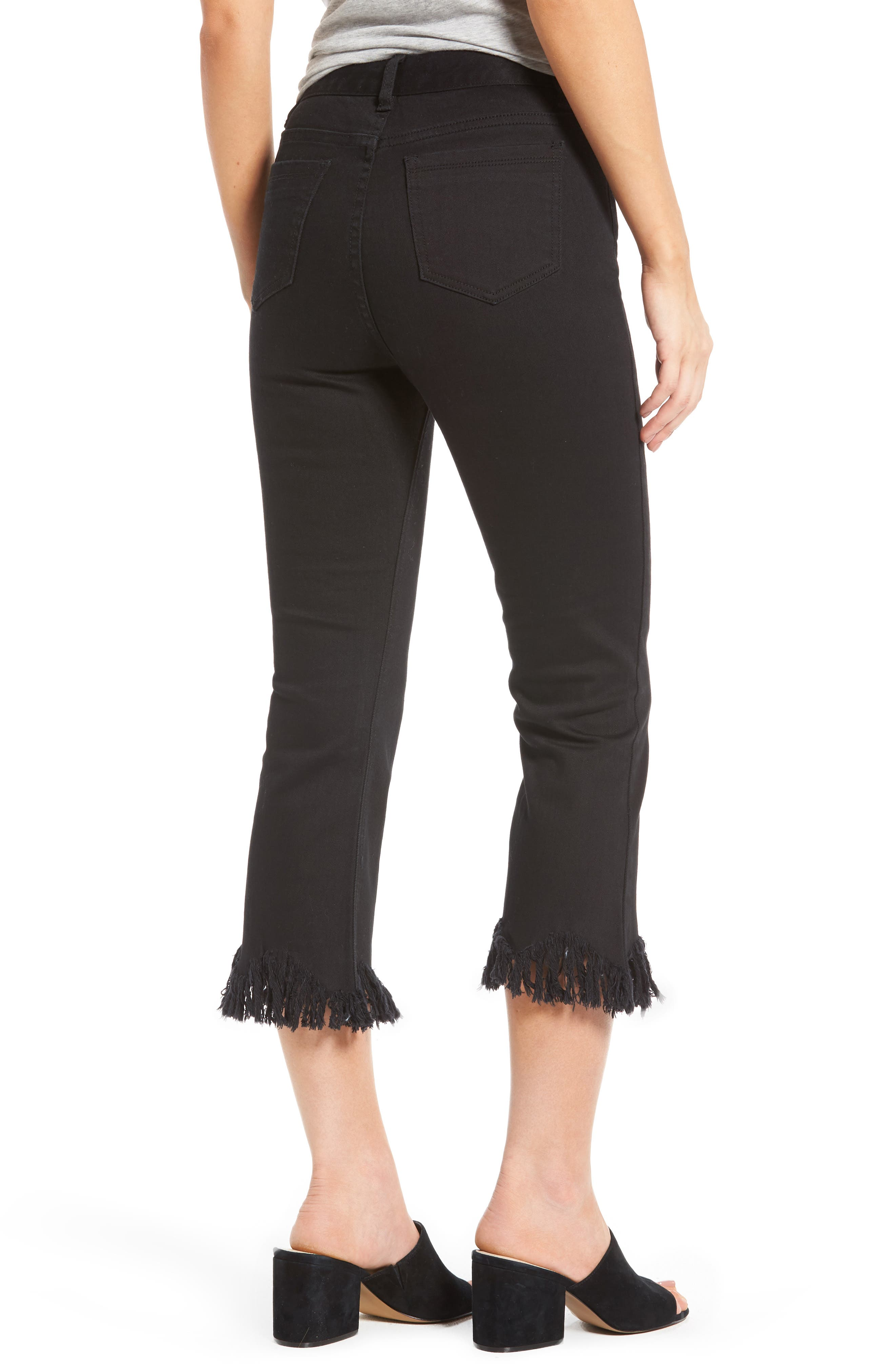 Frayed Hem High Rise Crop Jeans,                             Alternate thumbnail 2, color,                             001