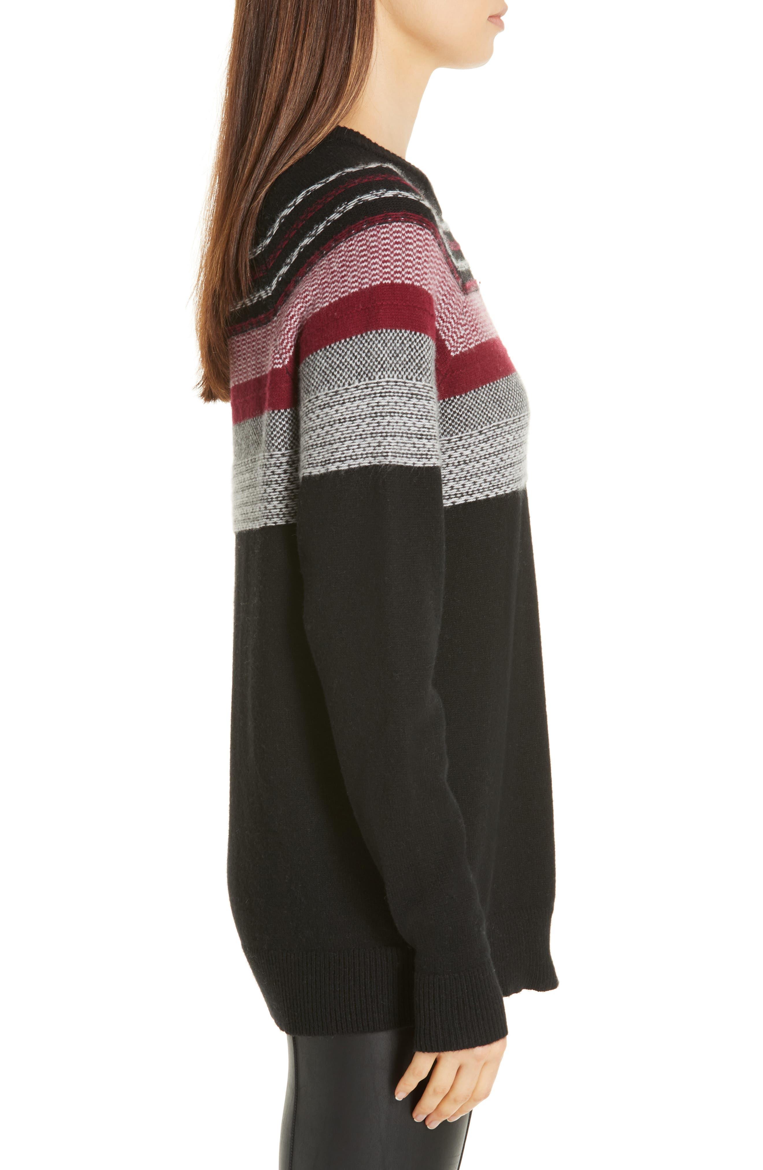 Fair Isle Merino Wool Blend Sweater,                             Alternate thumbnail 3, color,                             BLACK/ RED COMBO