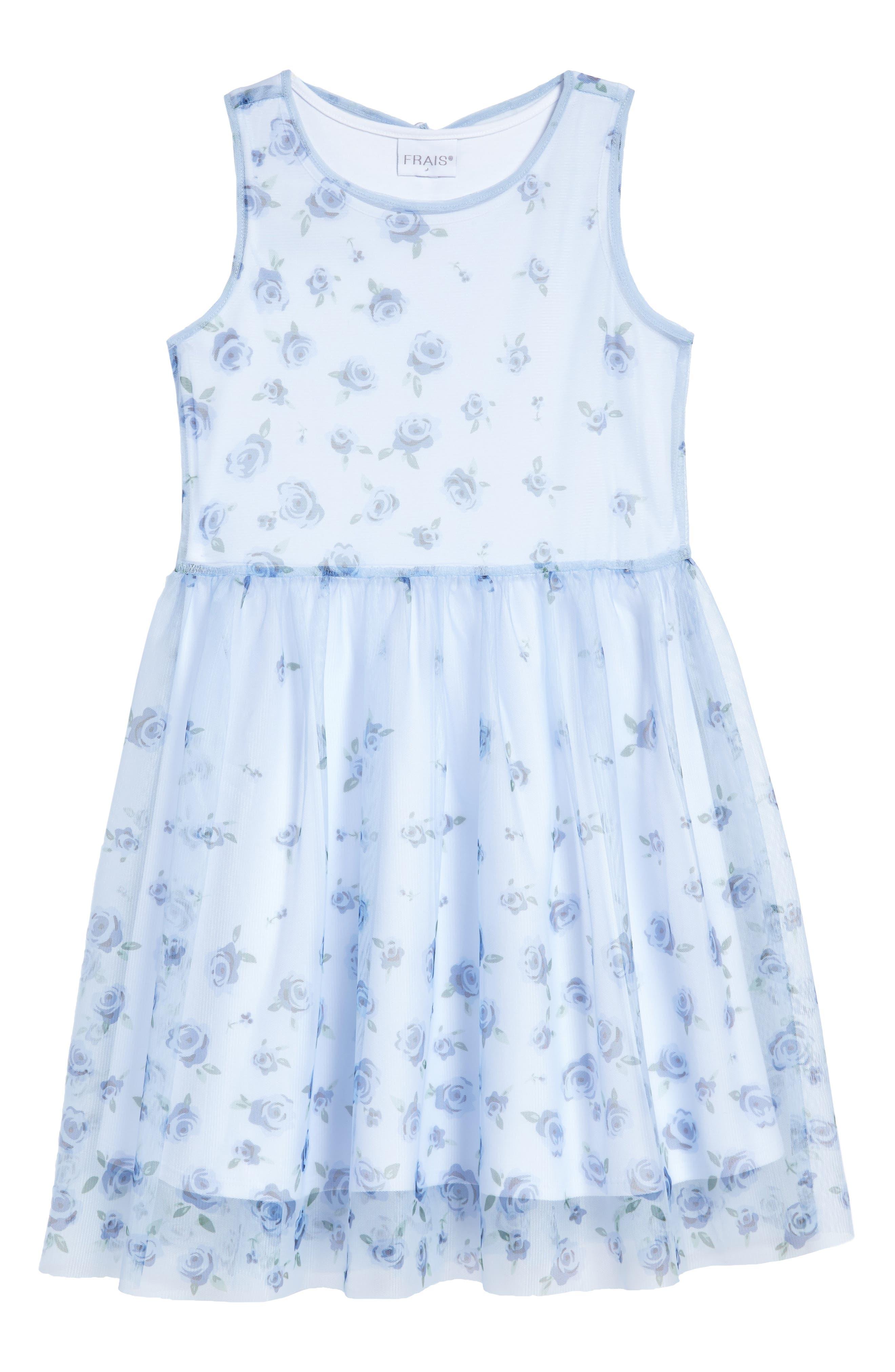 Floral Print Mesh Dress,                         Main,                         color, 450