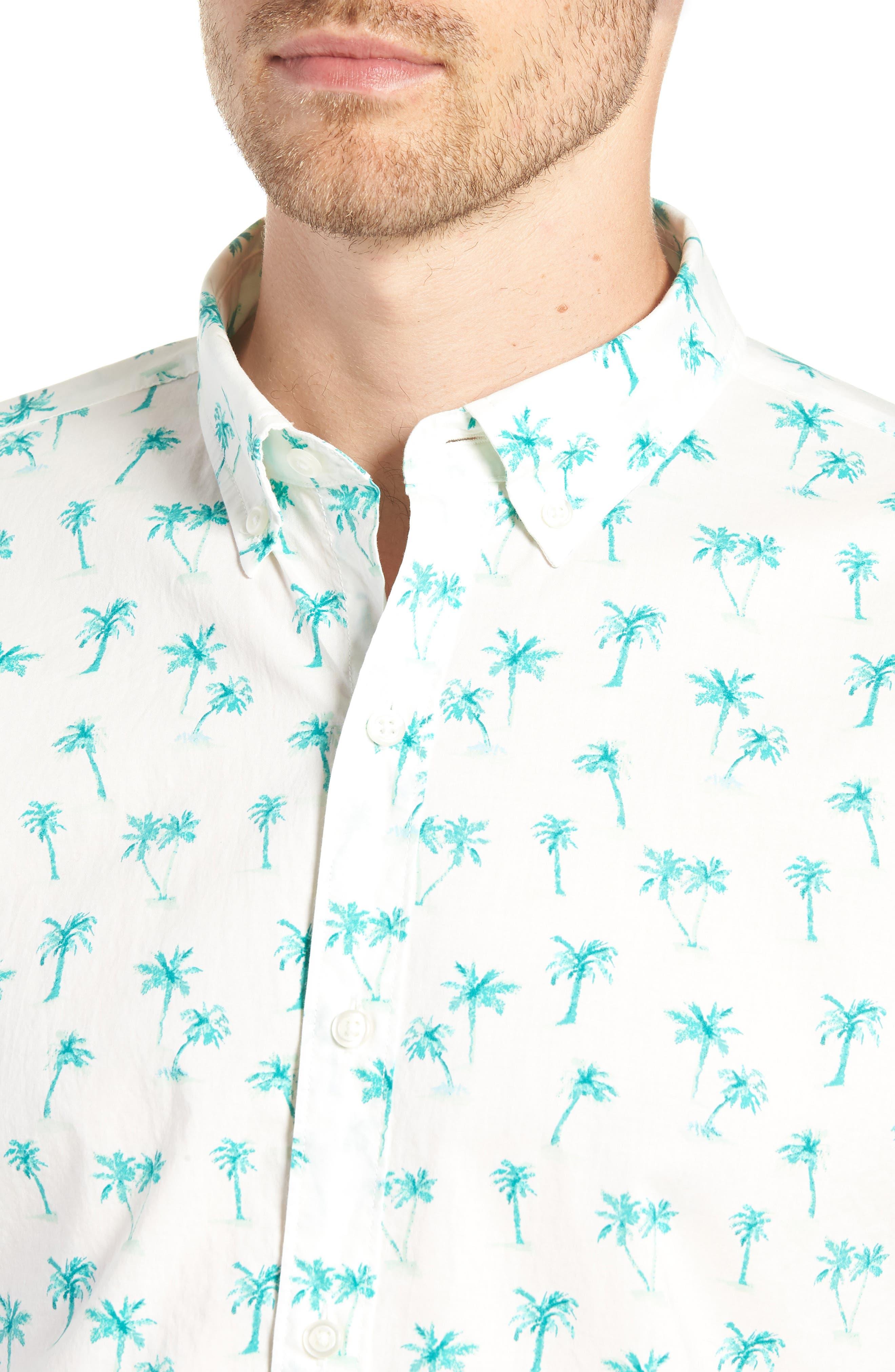 Riviera Slim Fit Palm Print Sport Shirt,                             Alternate thumbnail 2, color,                             100