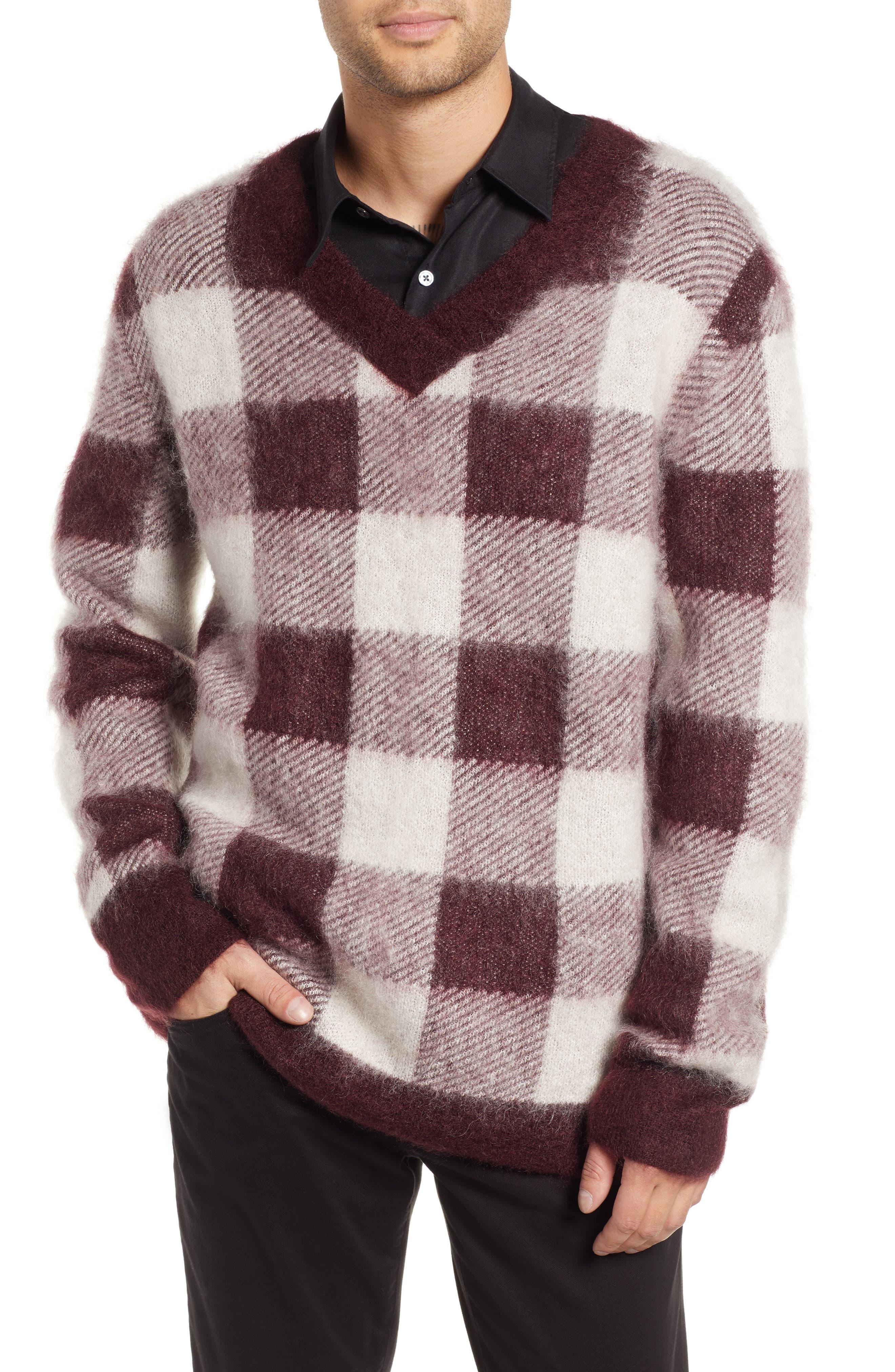 Low Mohair Blend V-Neck Sweater,                             Main thumbnail 1, color,                             PLUM CHECK