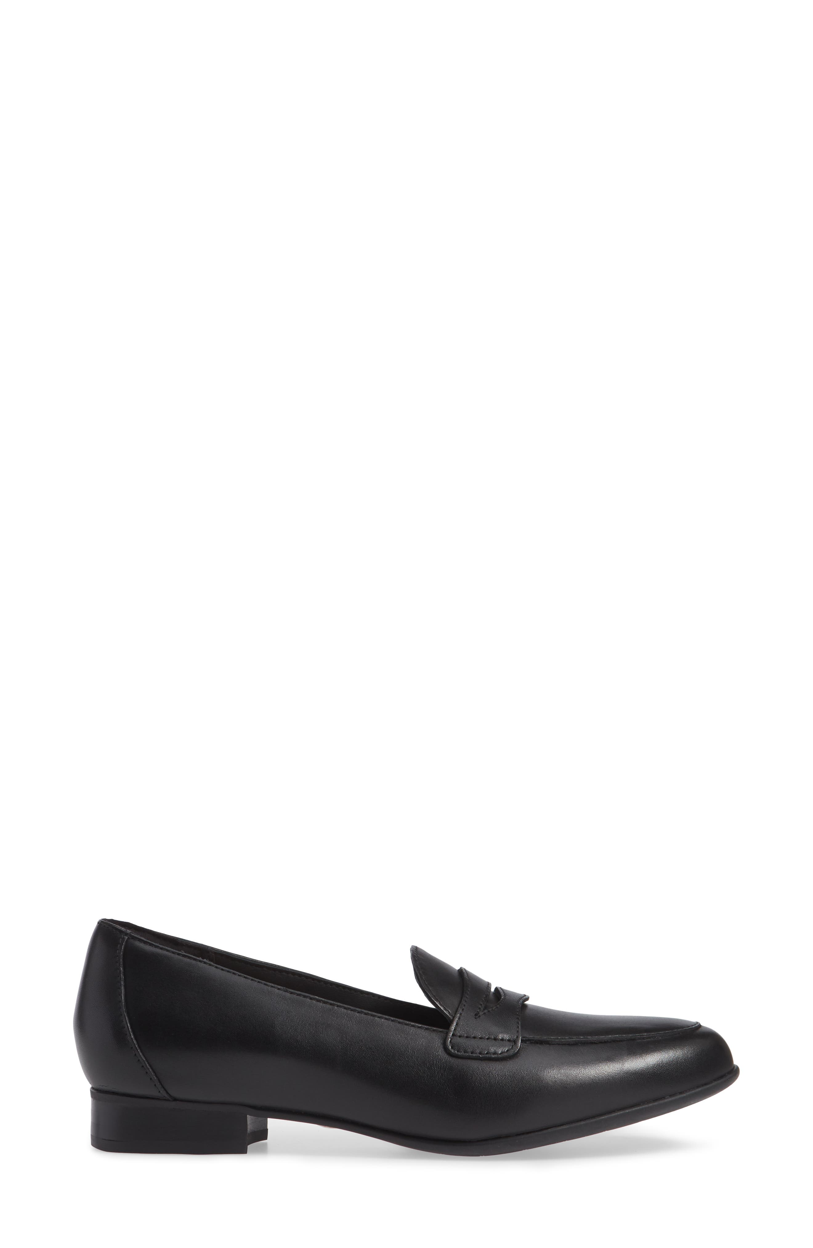 Un Blush Go Penny Loafer,                             Alternate thumbnail 3, color,                             BLACK LEATHER