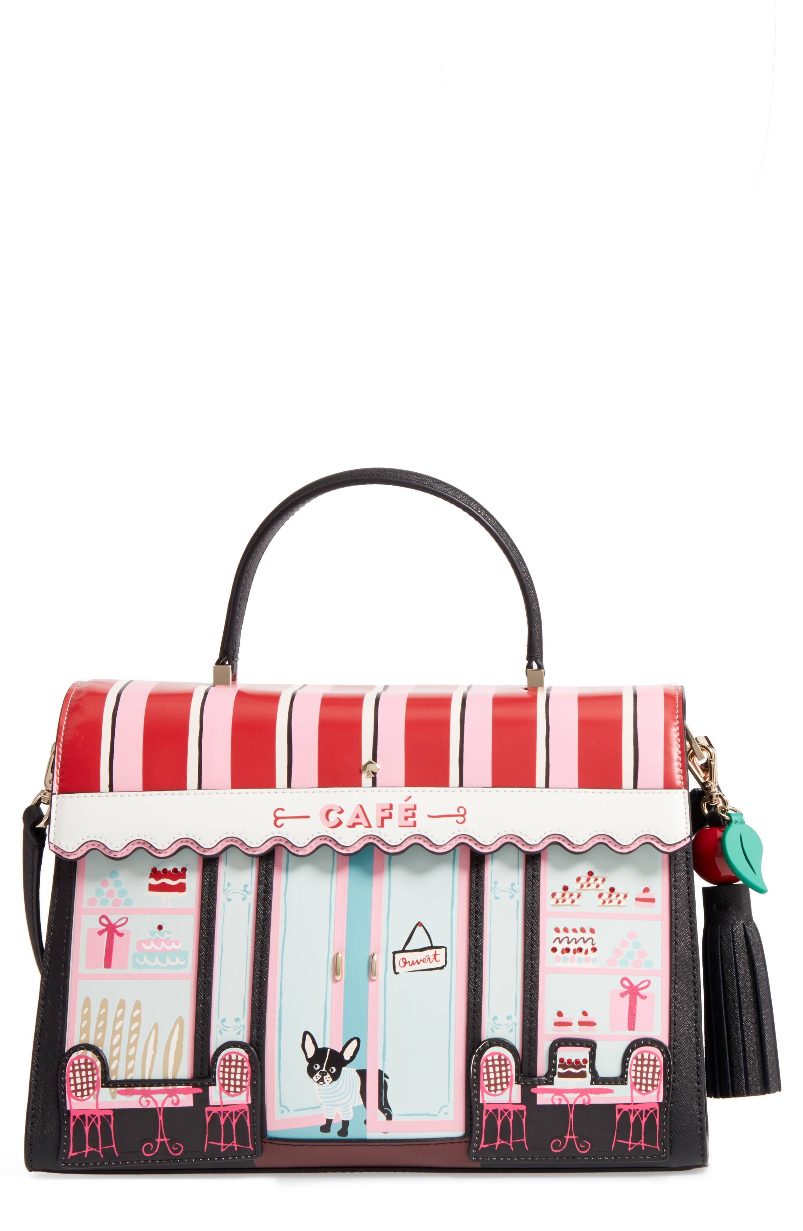 KATE SPADE NEW YORK ma cherie - café leather satchel, Main, color, 001