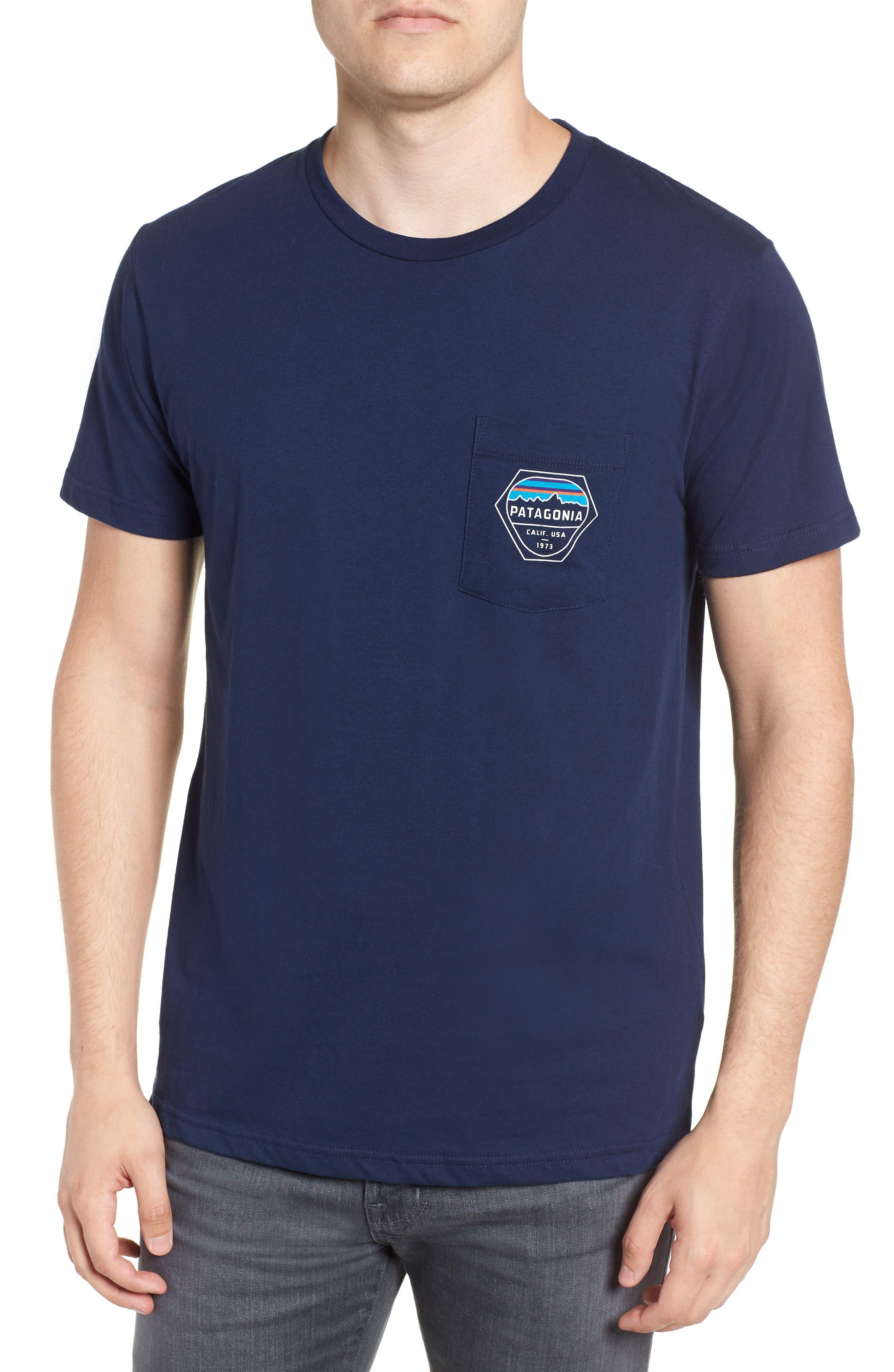 Fitz Roy Hex Pocket T-Shirt,                             Main thumbnail 1, color,                             CLASSIC NAVY
