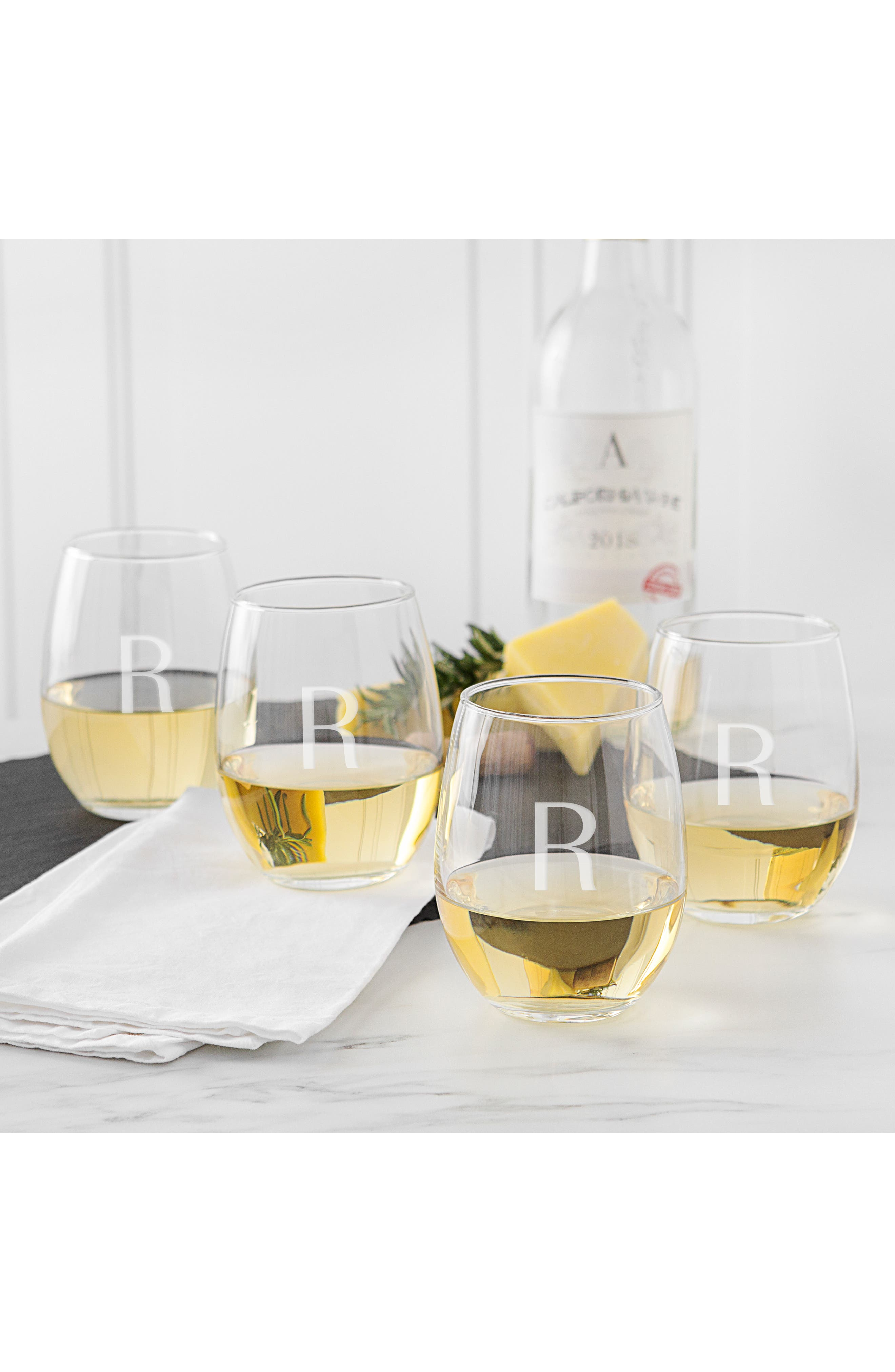 Estate Collection Set of 4 Monogram Stemless Wine Glasses,                             Alternate thumbnail 3, color,                             BLANK
