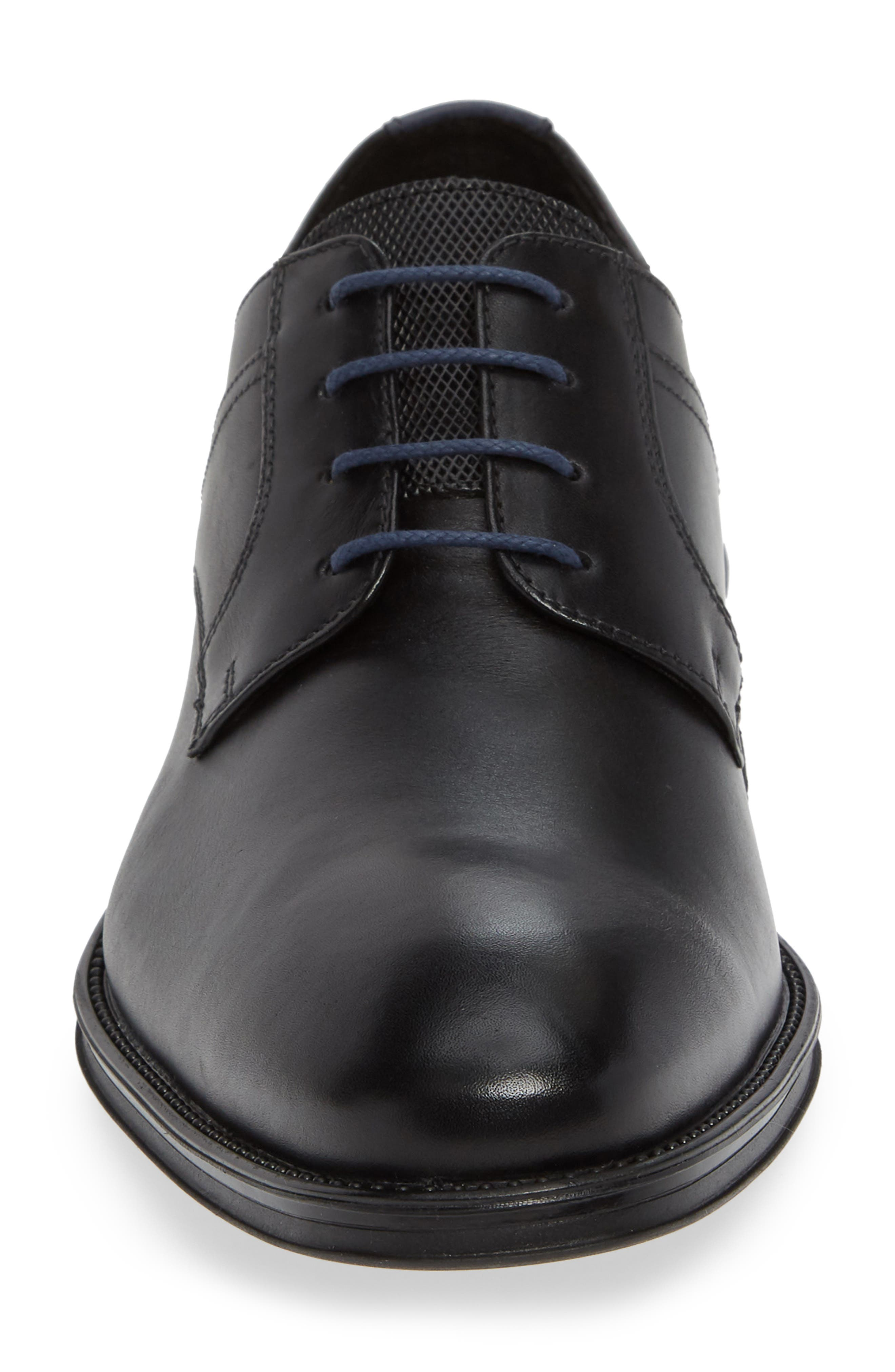 Gala Plain Toe Derby,                             Alternate thumbnail 4, color,                             BLACK/ MIDNIGHT LEATHER