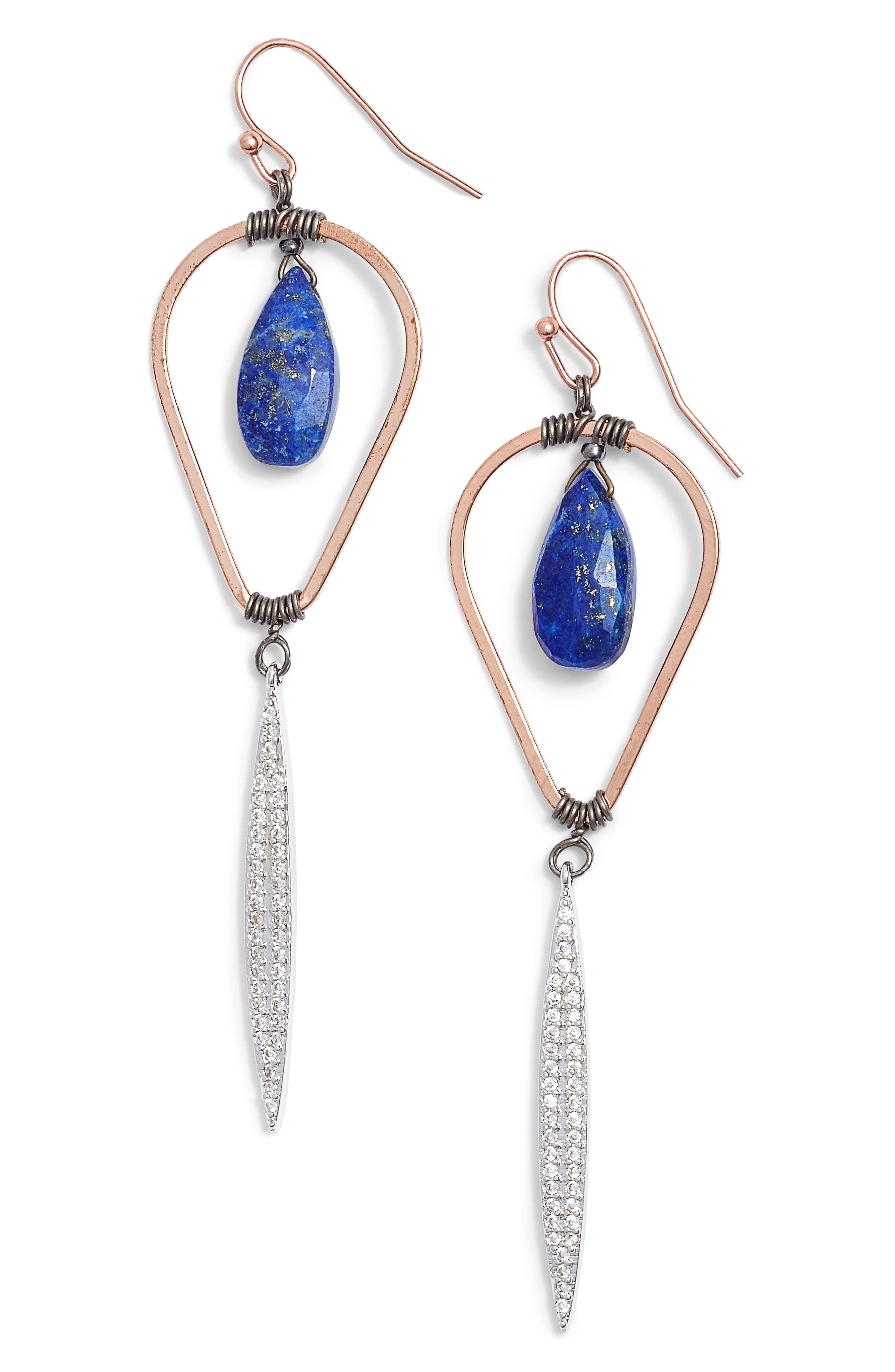 Lapis & Crystal Drop Earrings,                         Main,                         color, 400