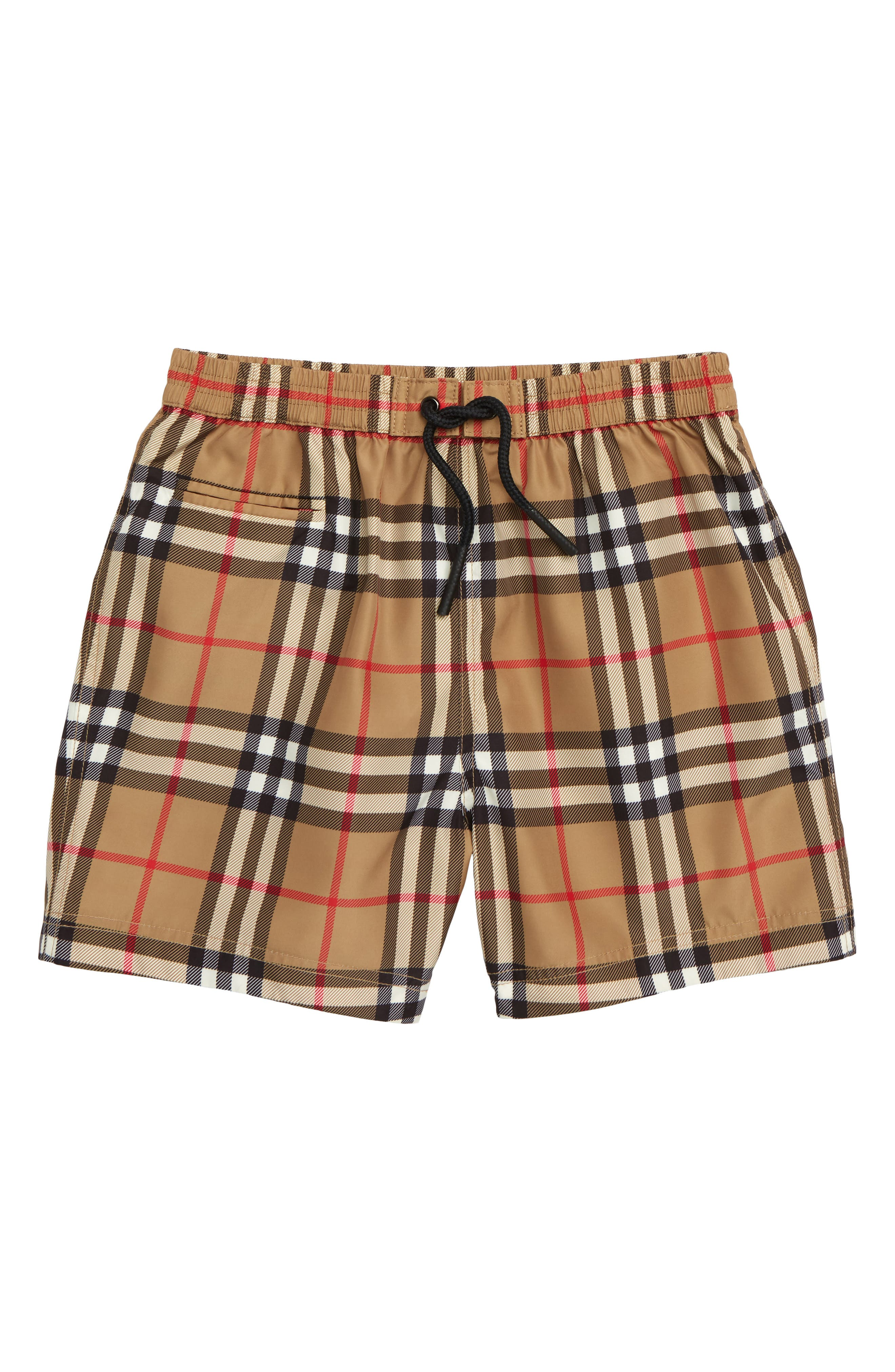 Galvin Check Swim Trunks,                         Main,                         color, ANTIQUE YELLOW