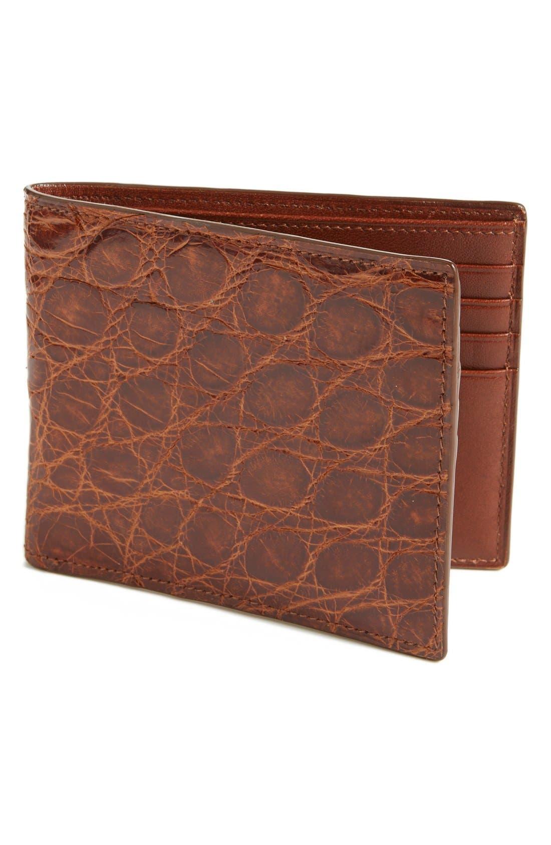 Glazed Genuine Crocodile Wallet,                             Main thumbnail 1, color,                             215